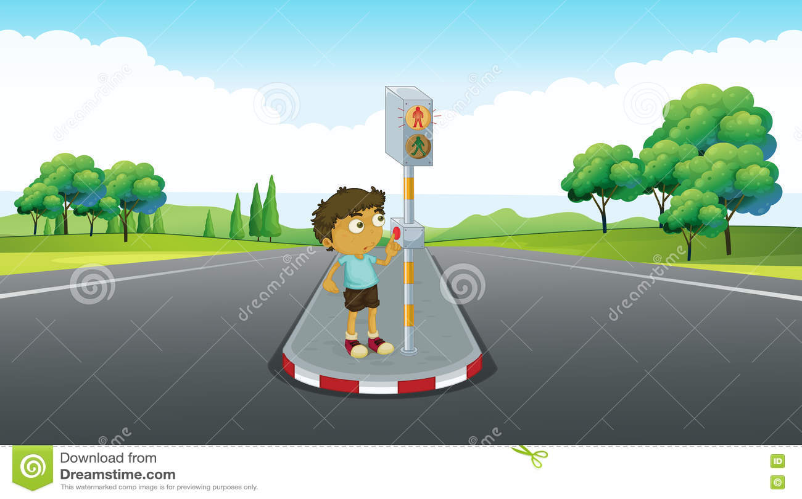 Pojke som använder signalen att korsa vägen