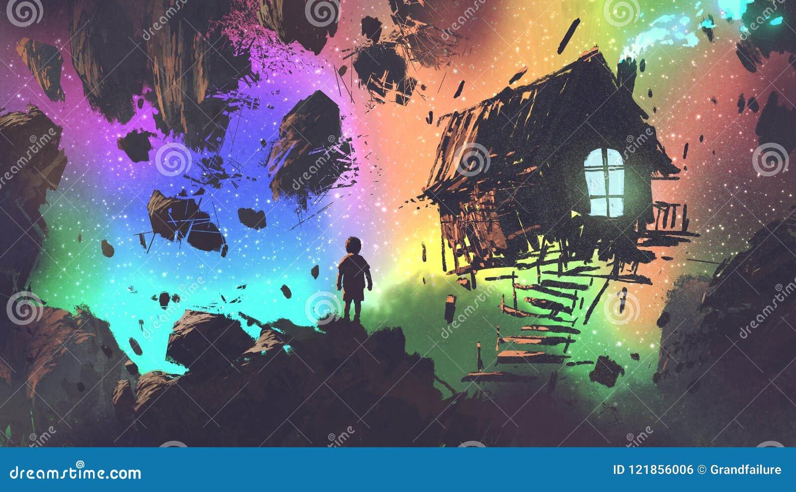 Pojken och ett hus i ett konstigt ställe