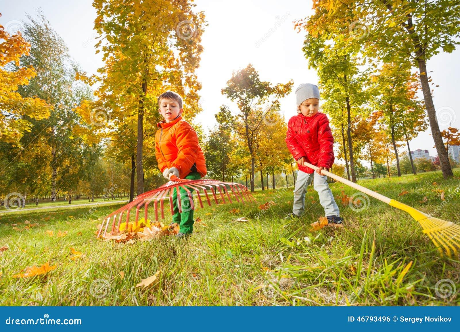 Pojken och flickan med två krattar arbete tillsammans