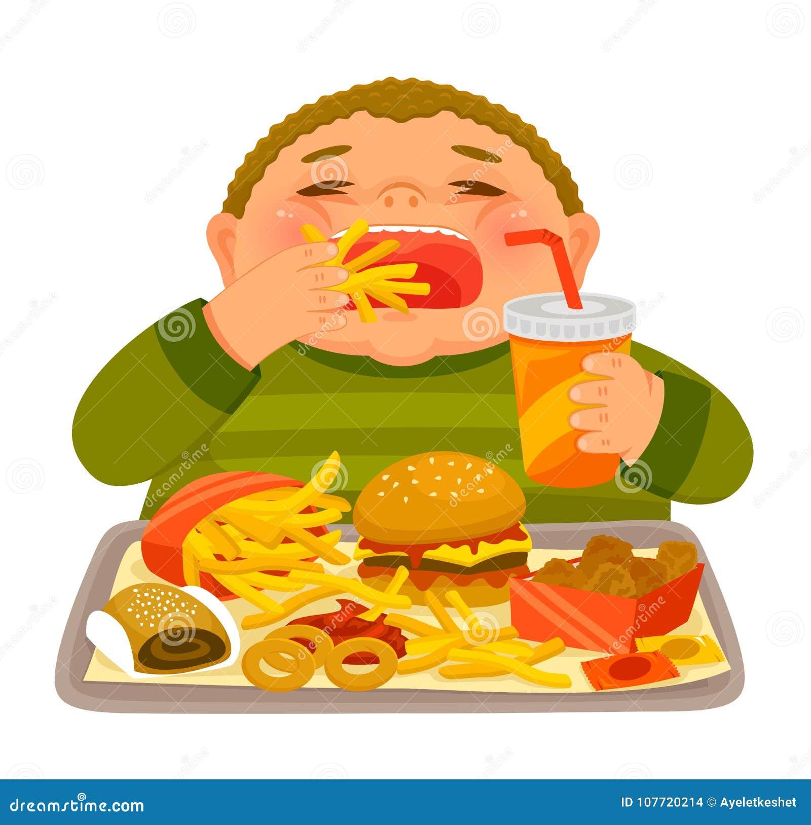 Pojkesupfest som äter skräpmat