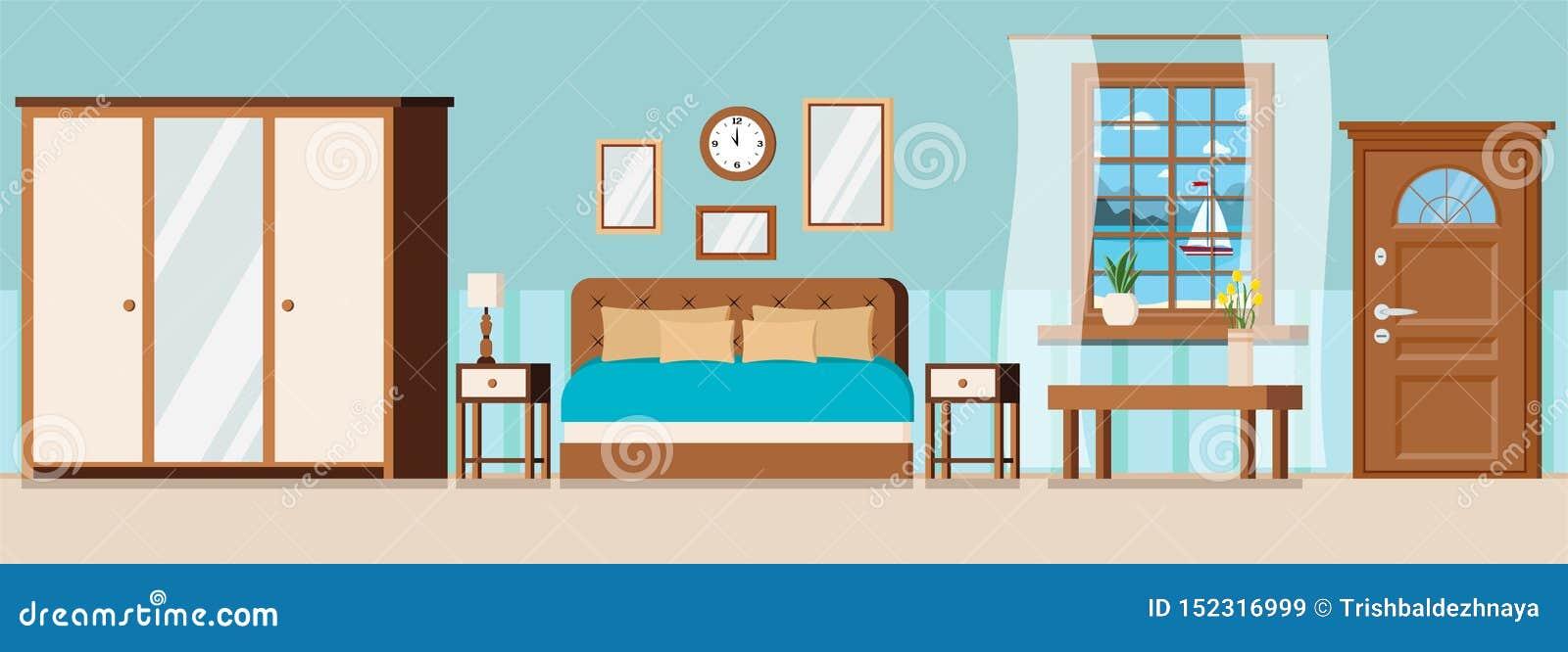 Pokój hotelowy z meble, drzwi, nadokienny widok morze krajobraz z żaglówką