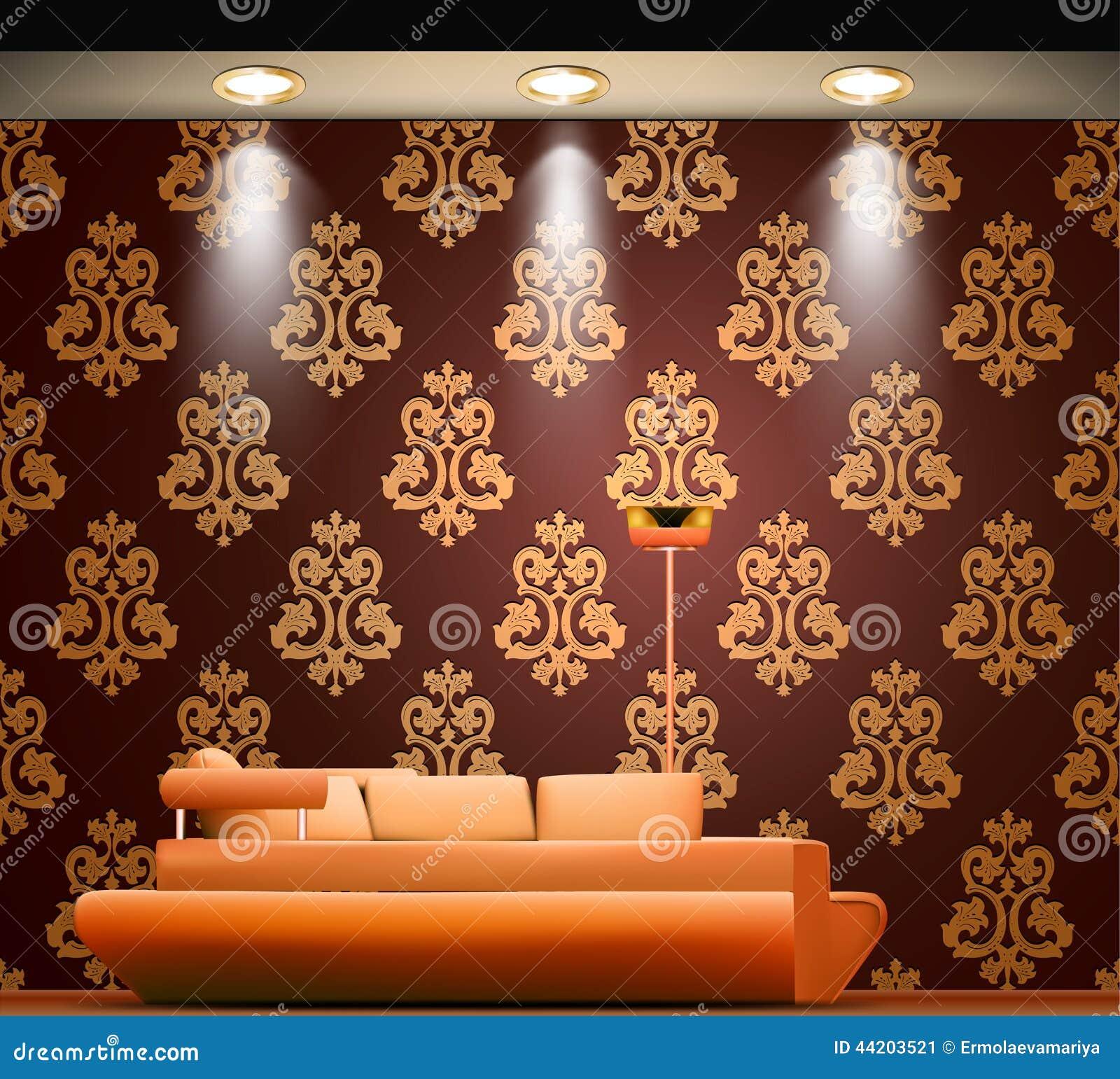 Pokój z kanapą i źródłami światła wektor