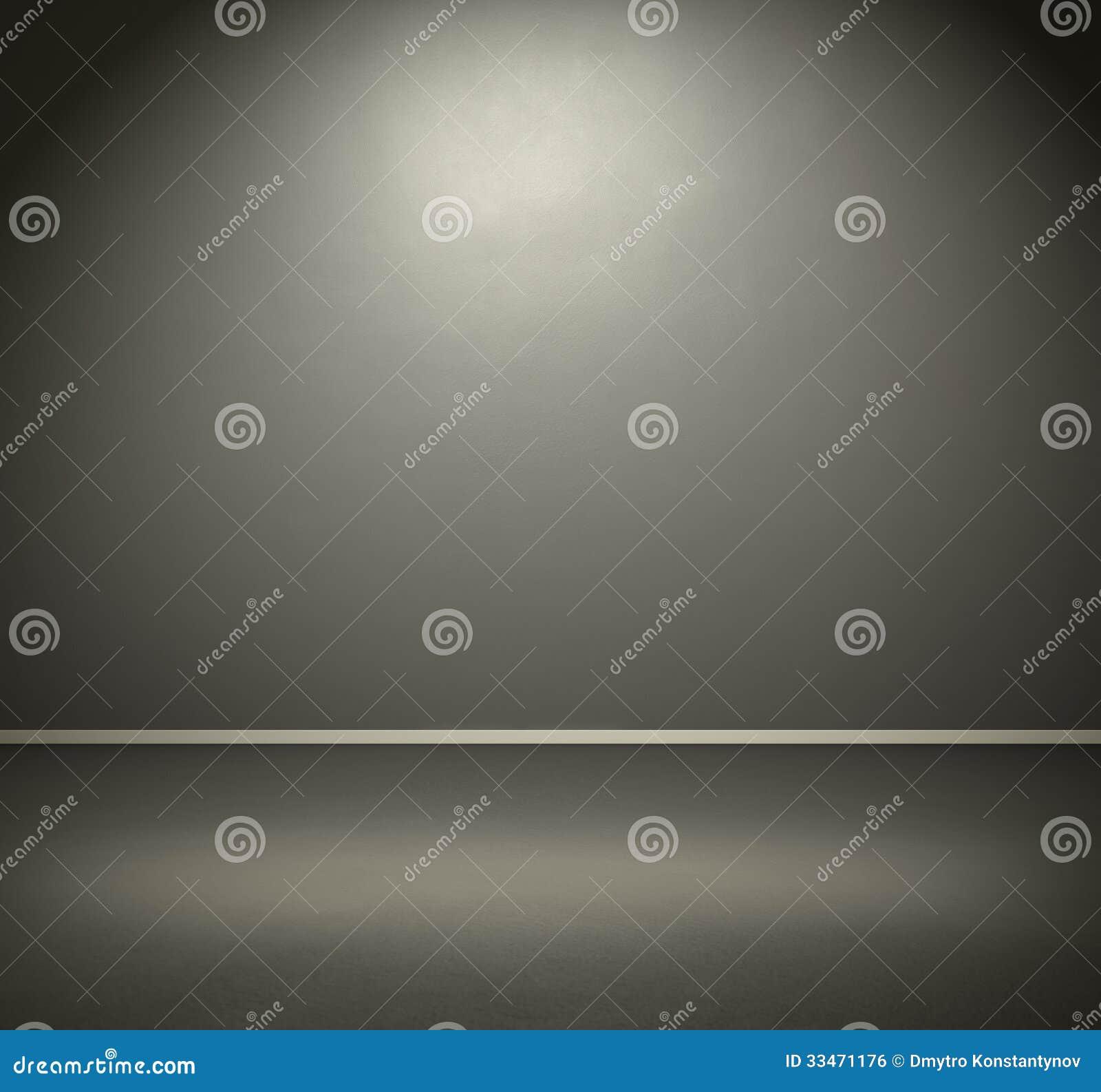 Pokój z zmrok popielatą ścianą podłoga i