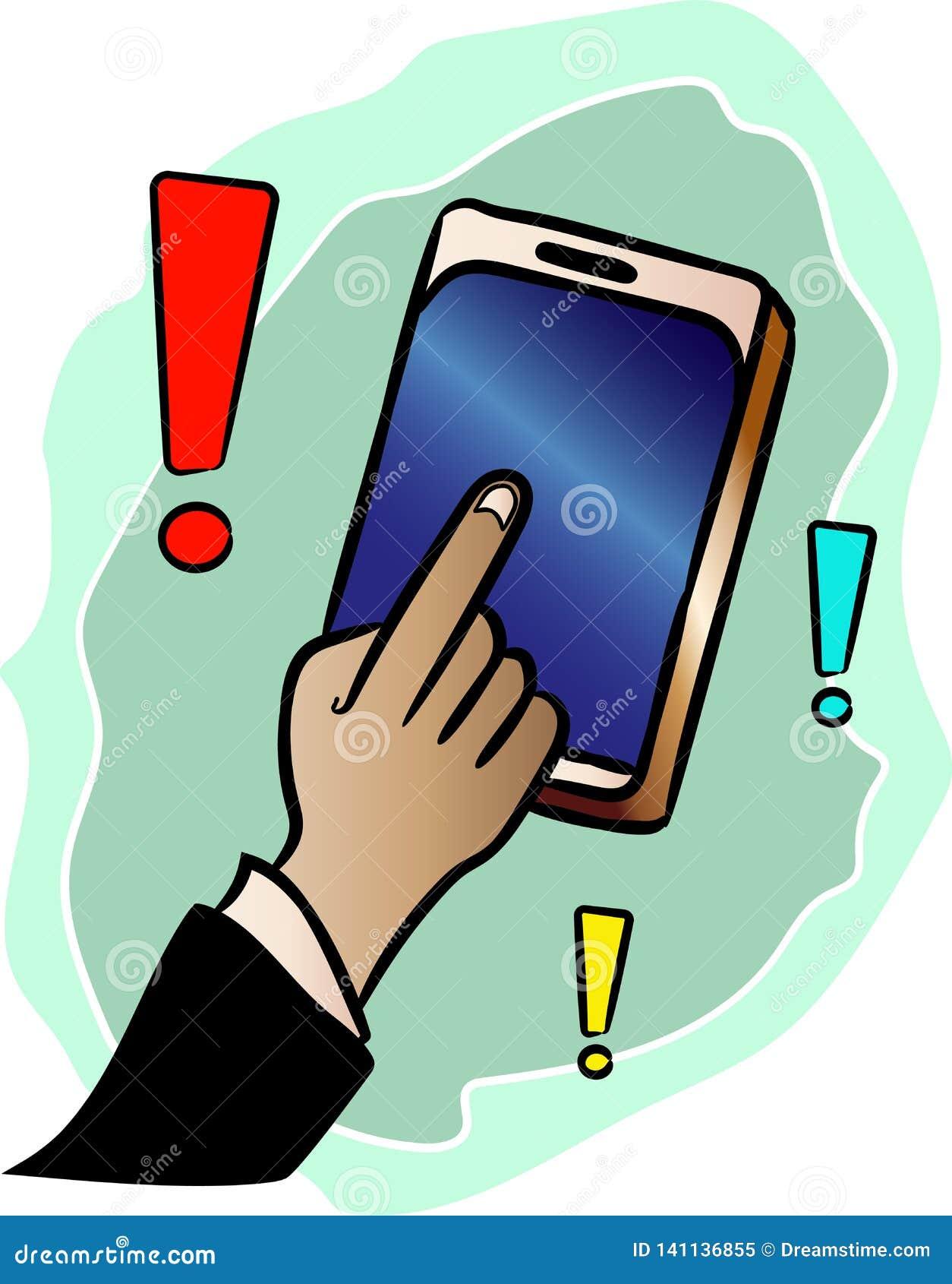 Pokazuje odpowiedź z twój palcem na telefonie komórkowym w zastosowaniu przygotowywa ikonę