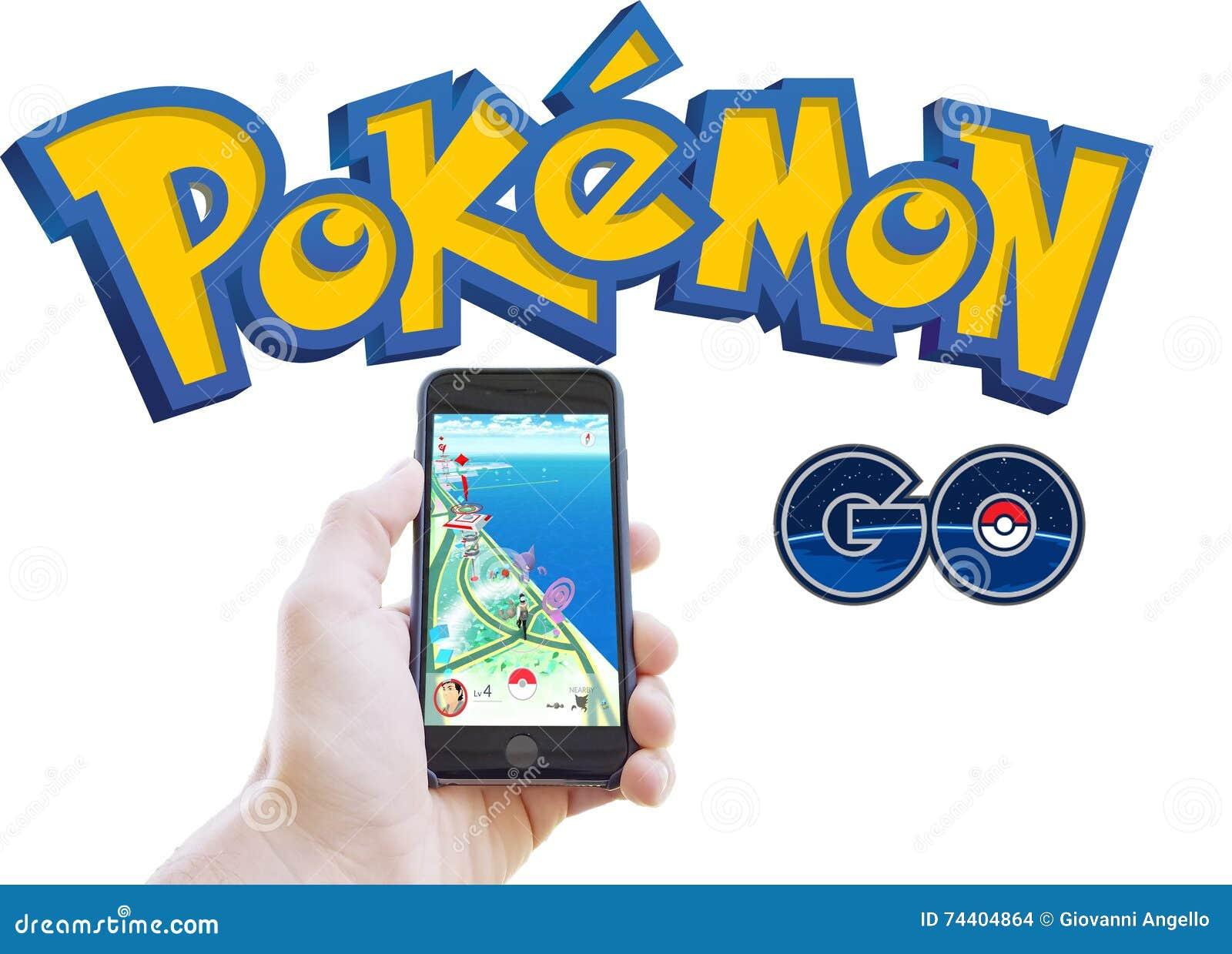 Pokemon go app and logo isolated