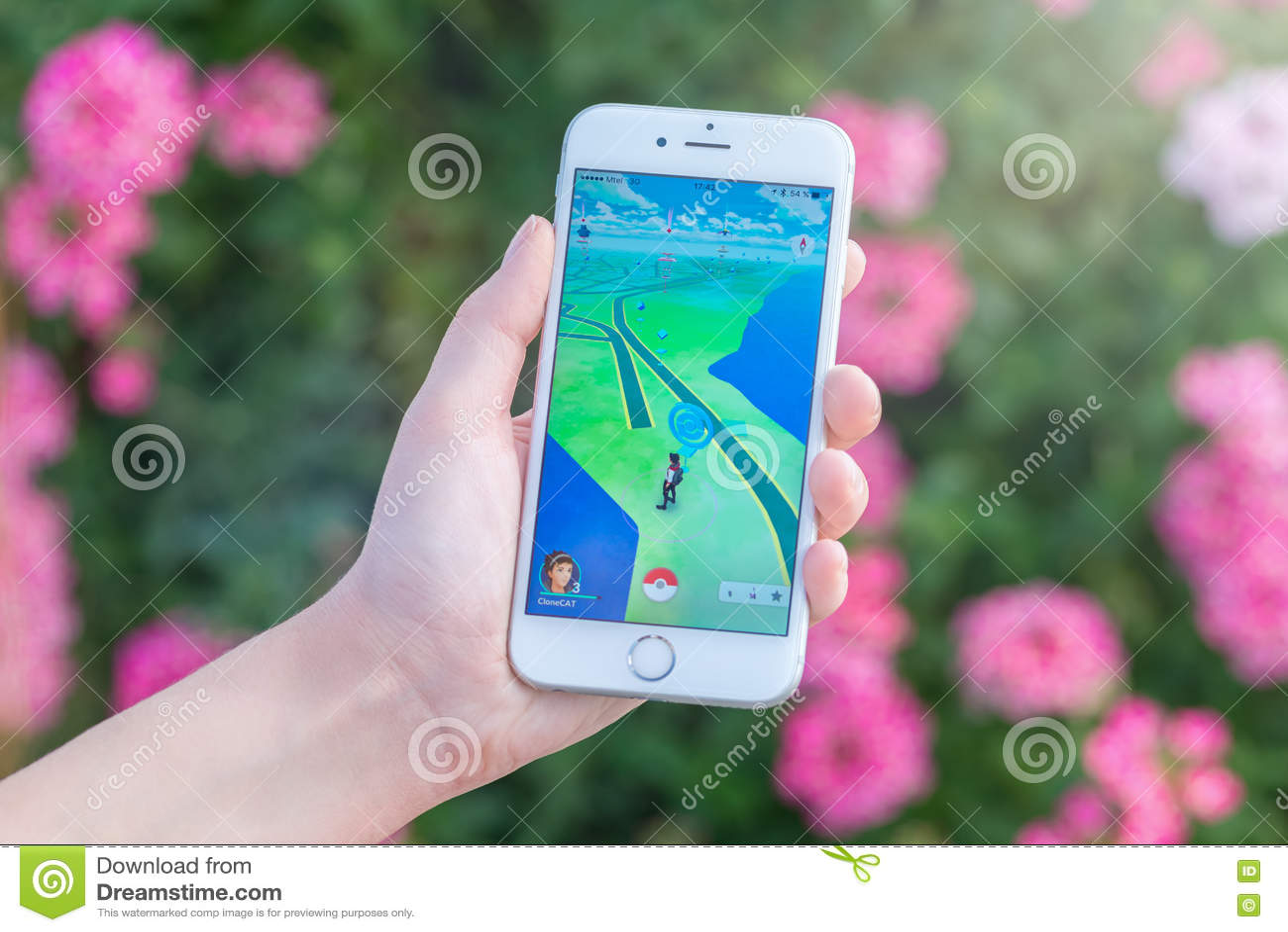 Pokemon Go App With Pokestop On The Map On Apple IPhone 6S