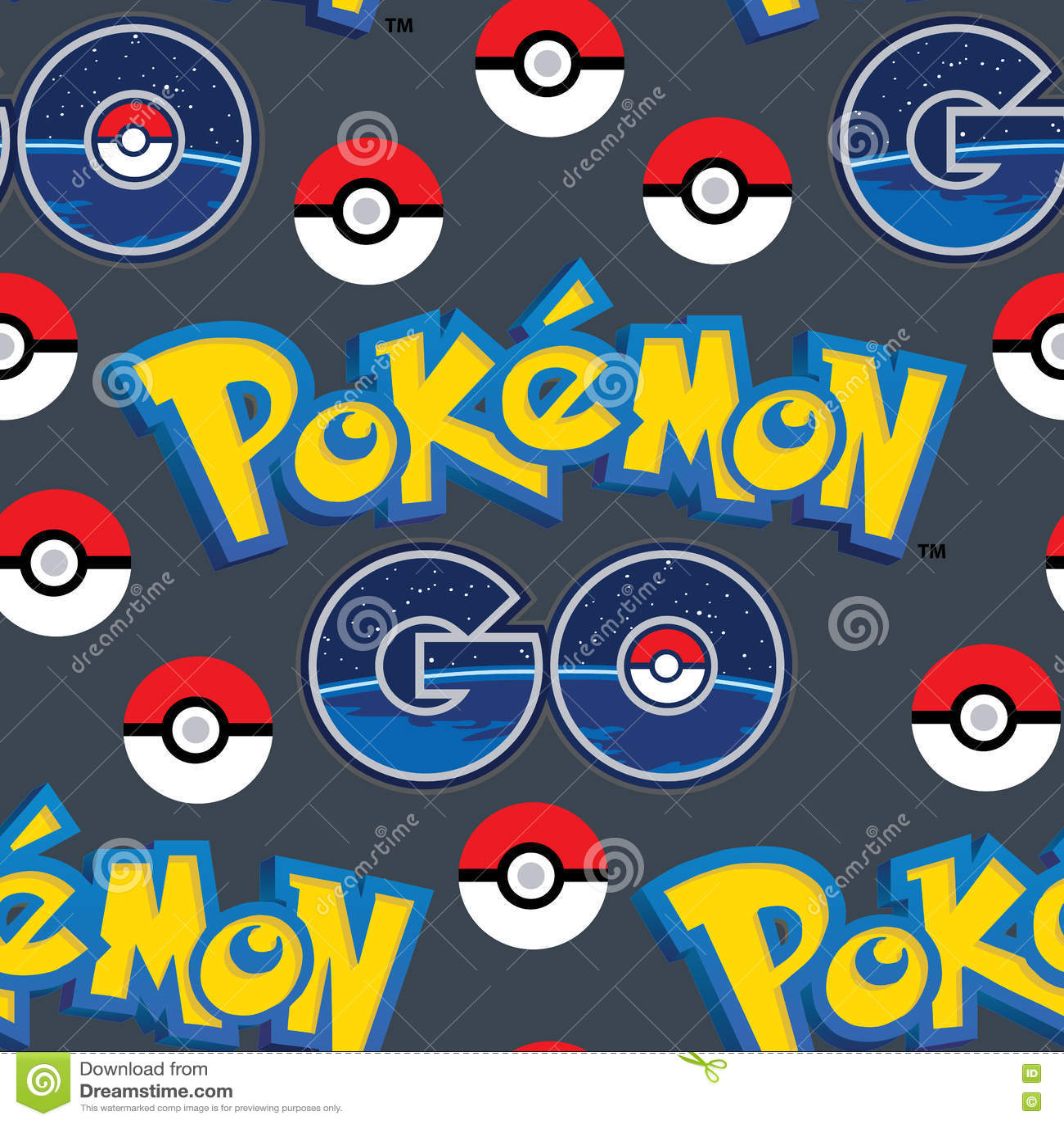 Pokemon Go with balls seamless pattern