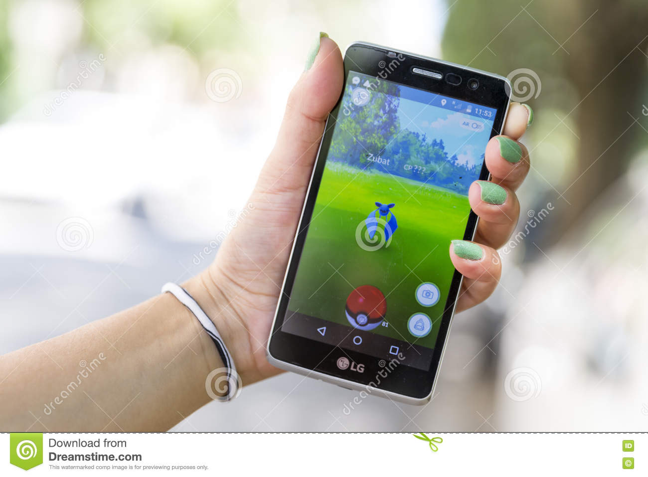 Pokemon Go Game In A Hand Zubat Editorial Photography Image Of