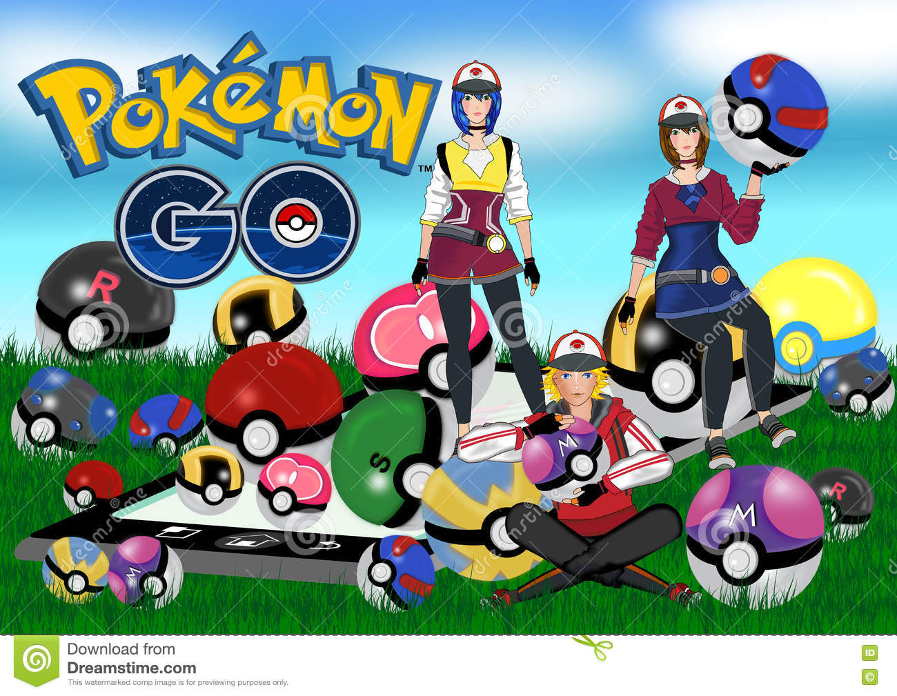 Pokemon go editorial stock photo  Illustration of collection
