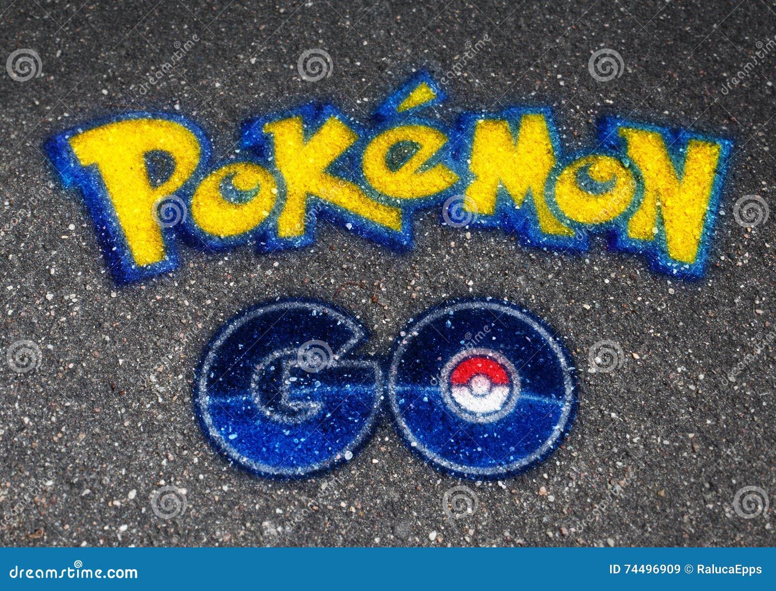 Editorial Stock Image Pokemon Go Logo Ball Drawn Asphalt Most Famous S