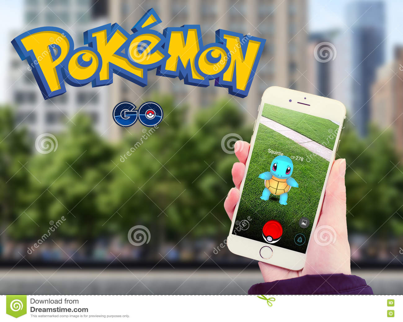 Pokemon Go in mobile With Logo