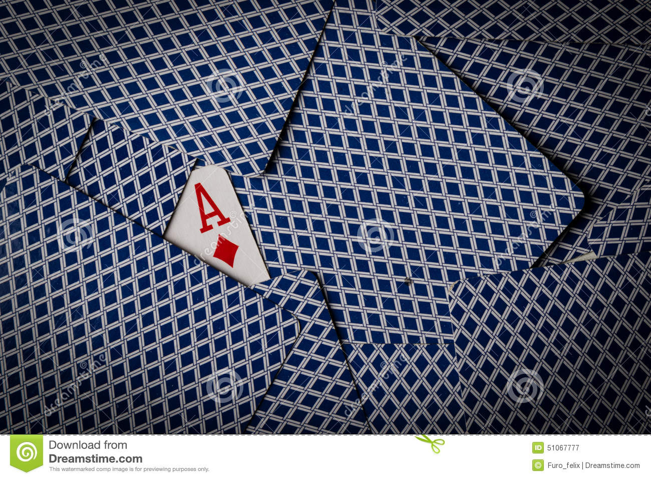 Poker cards with ace of diamonds showing