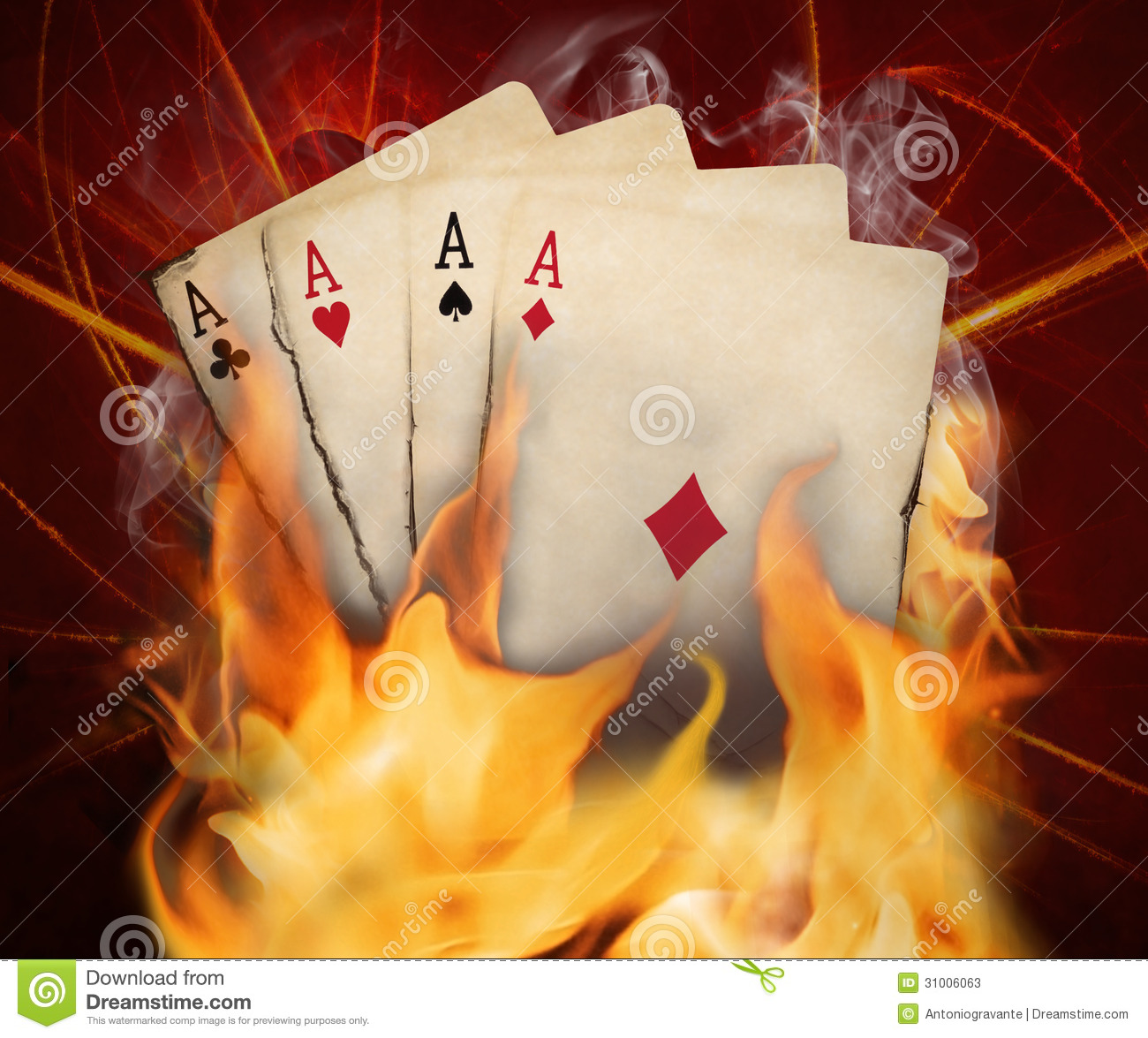 Poker Cards Burn In The Fire Stock Image - Image: 31006063