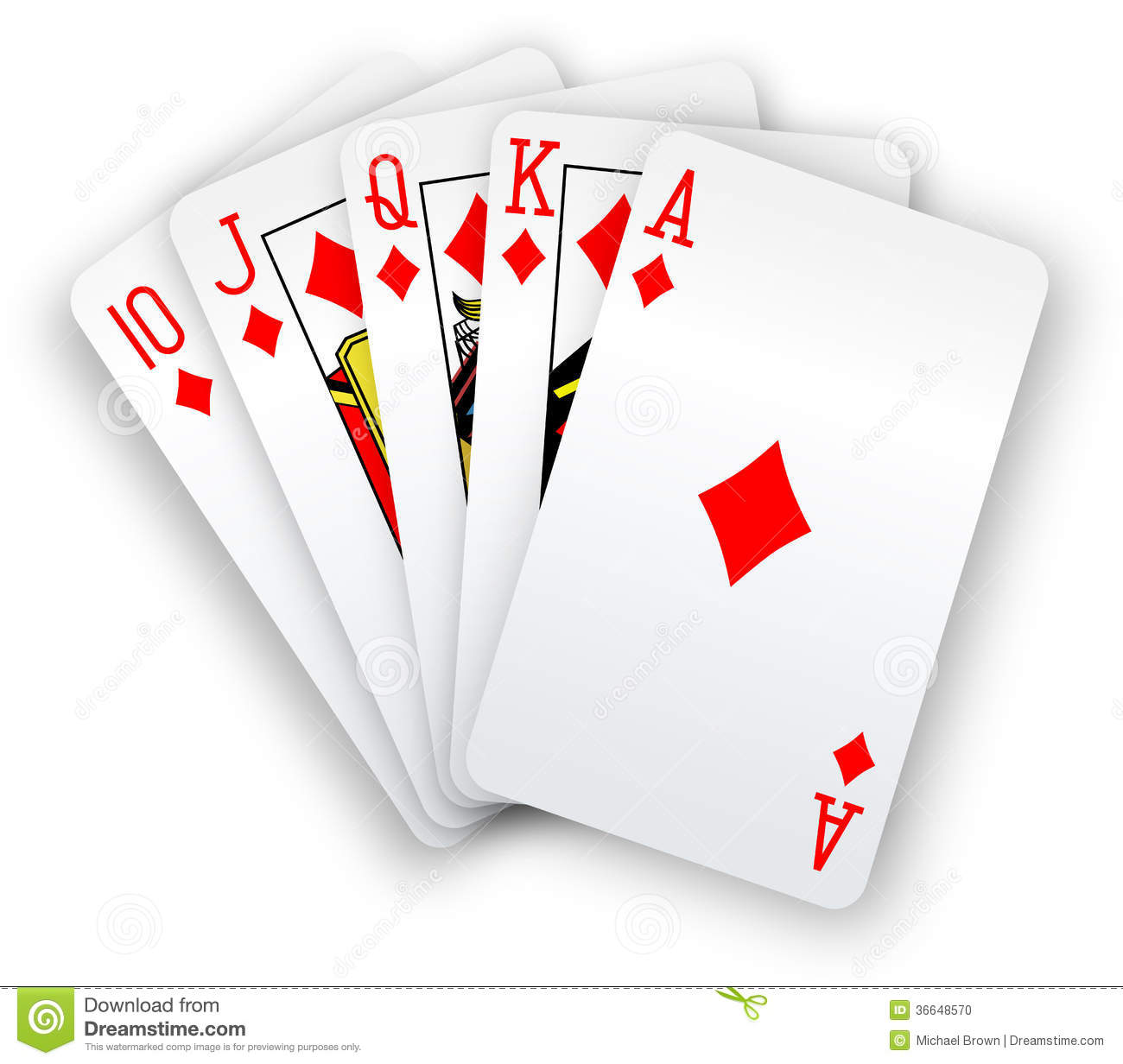 Poker Cards Straight Flush Diamonds Hand Stock Photo - Image: 36648570