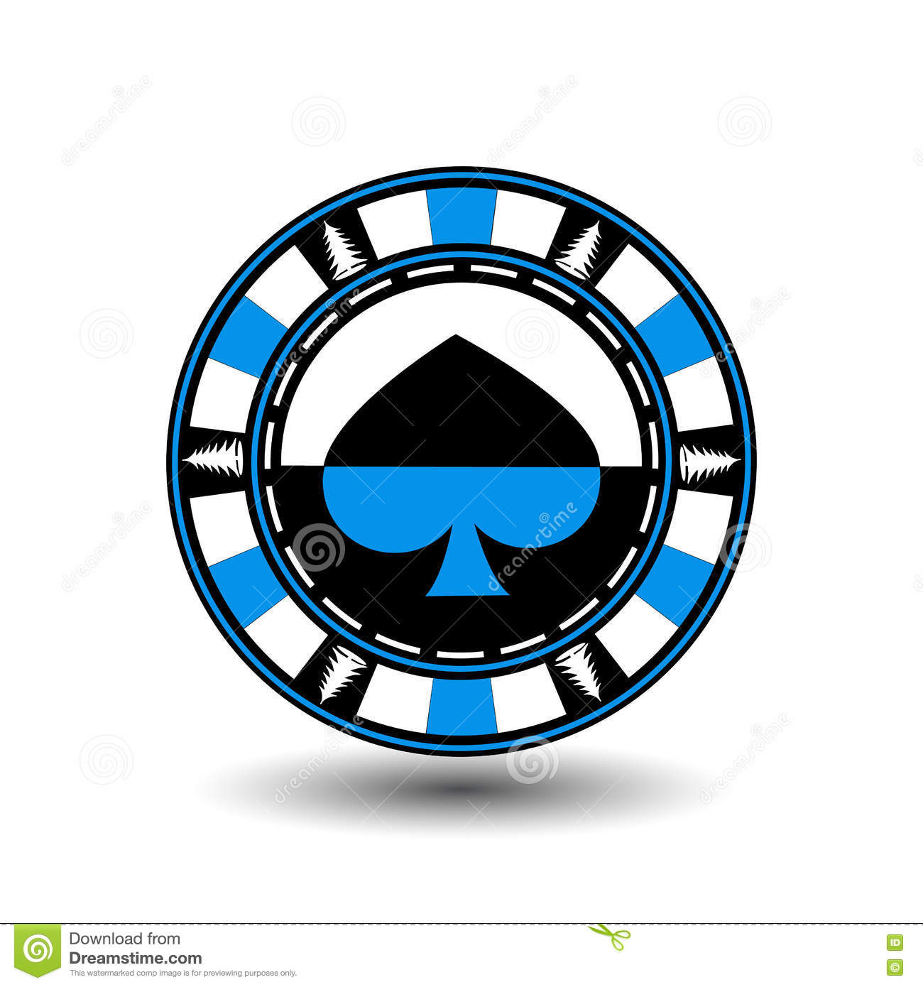 Poker Chip Christmas  Blue  With The Spade Suit In The