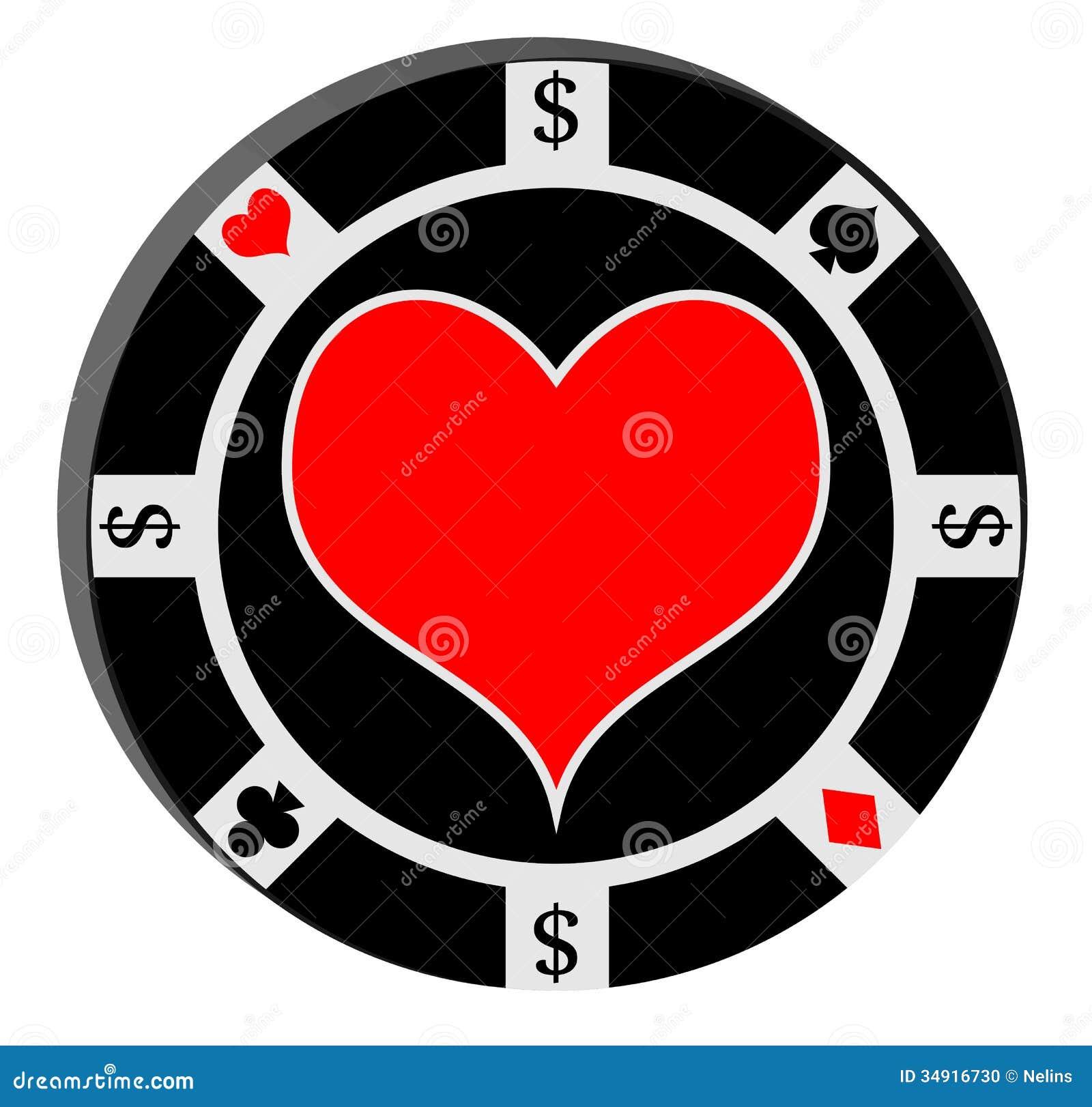 Poker chip with heart stock illustration. Illustration of