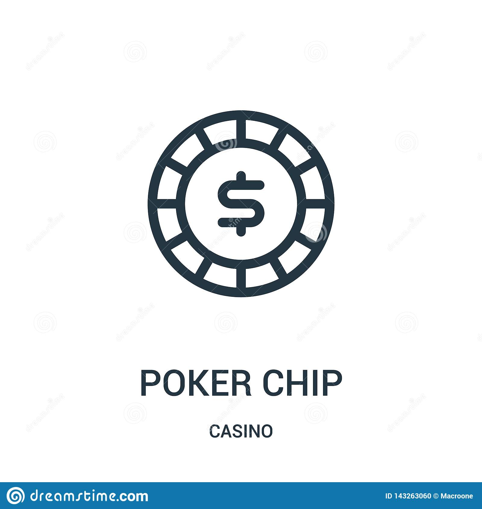 poker chip icon vector from casino collection. Thin line poker chip outline icon vector illustration