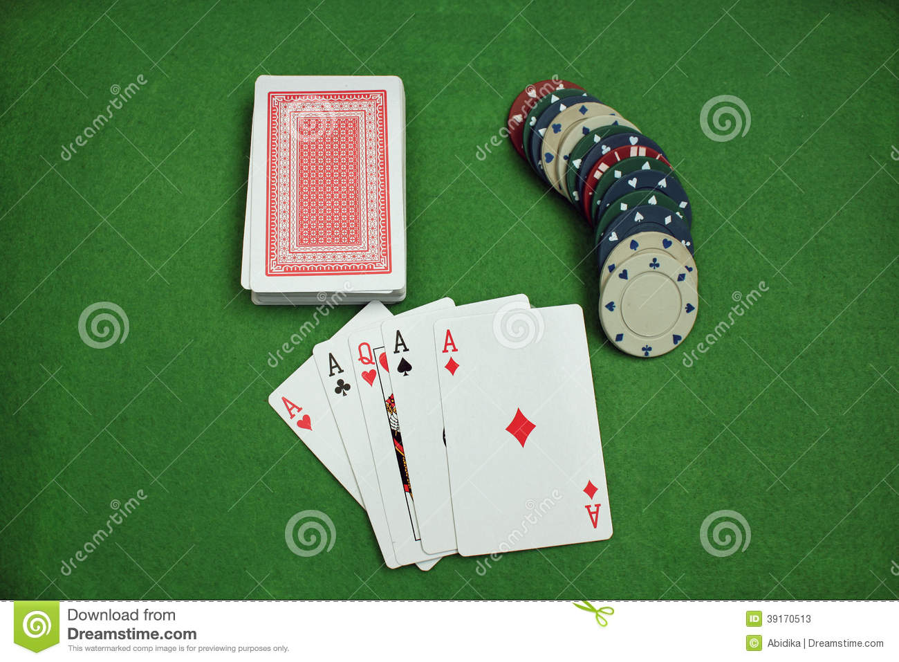 poker chips and cards on the baize stock photo image