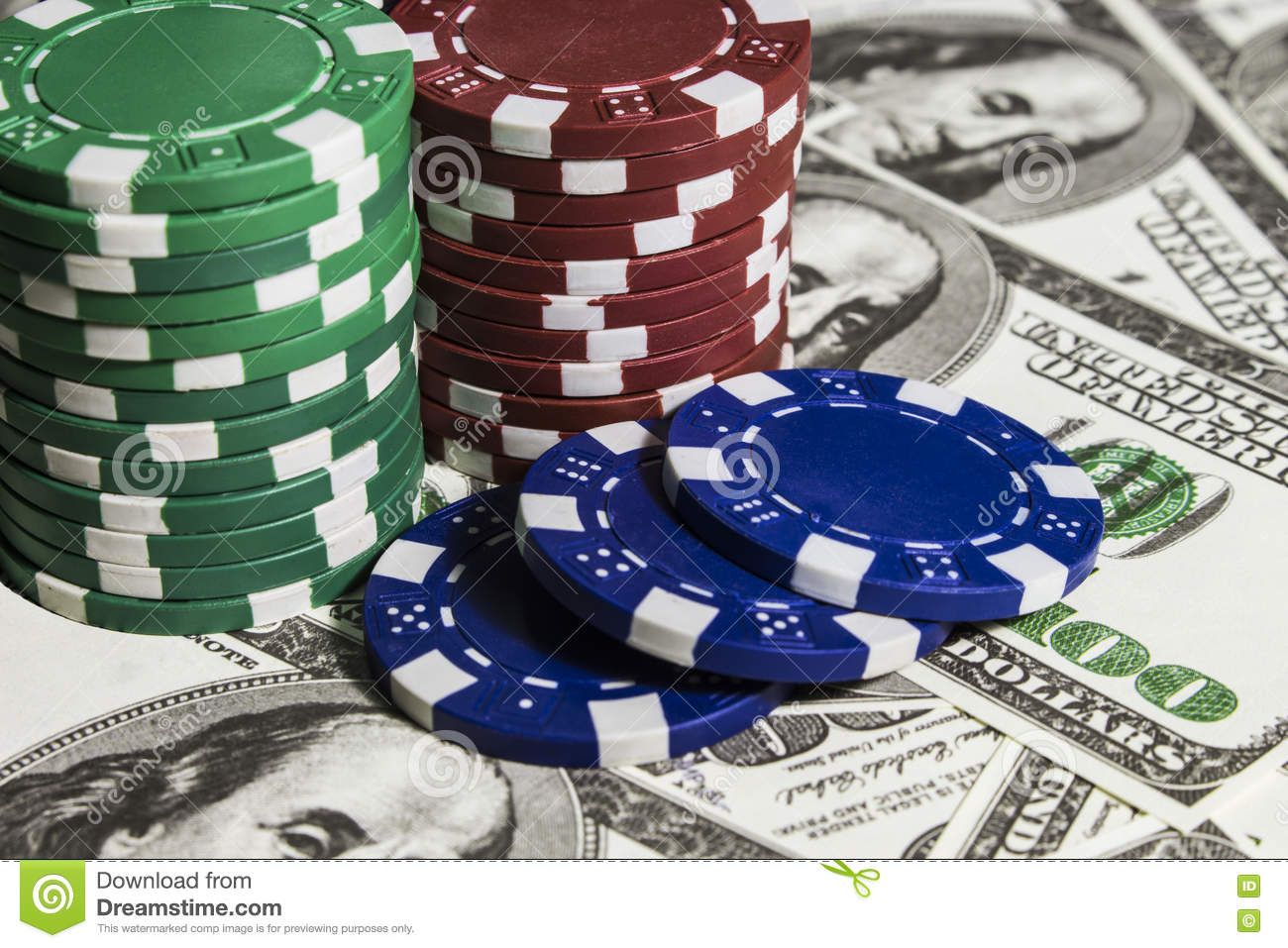 Poker chips with dolars