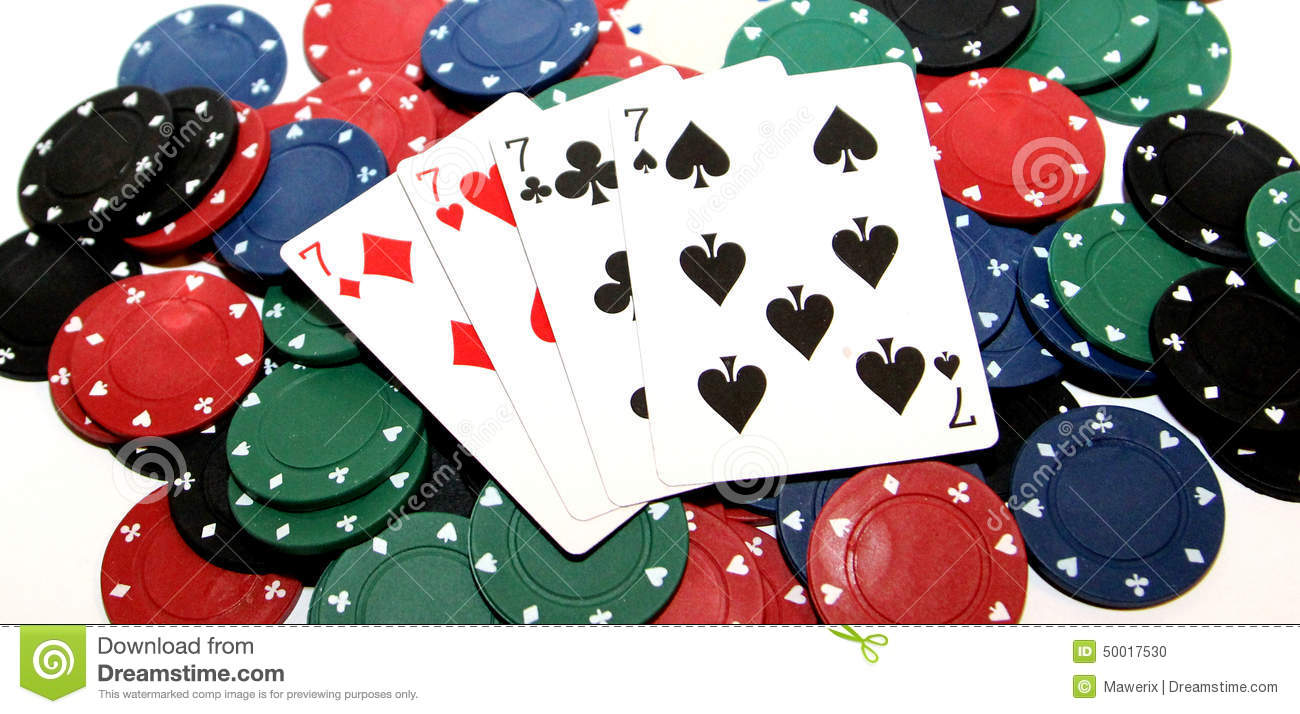 Poker chips and four sevens