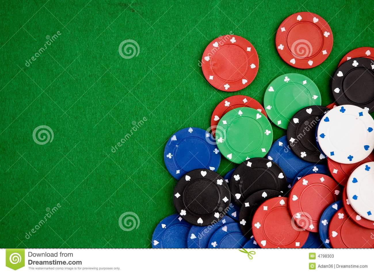Poker Chips On Green Background Stock Photos - Image: 4798303