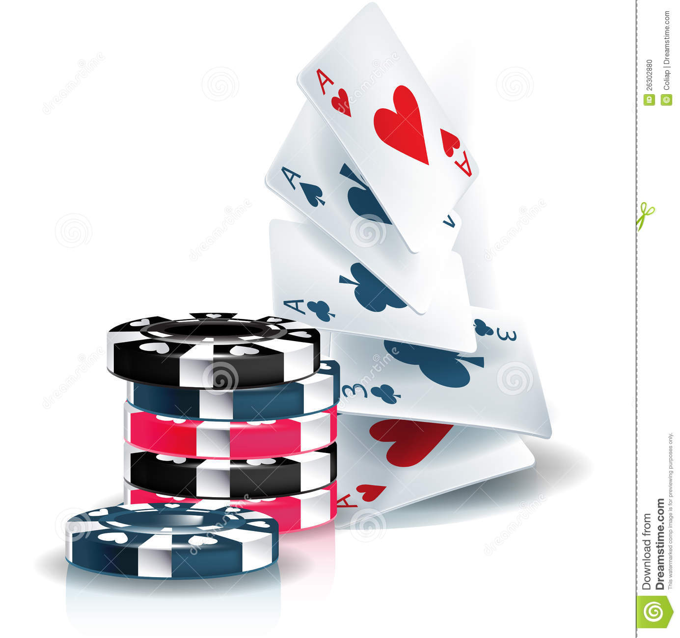 Poker Chips And Playing Cards Stock Vector - Illustration