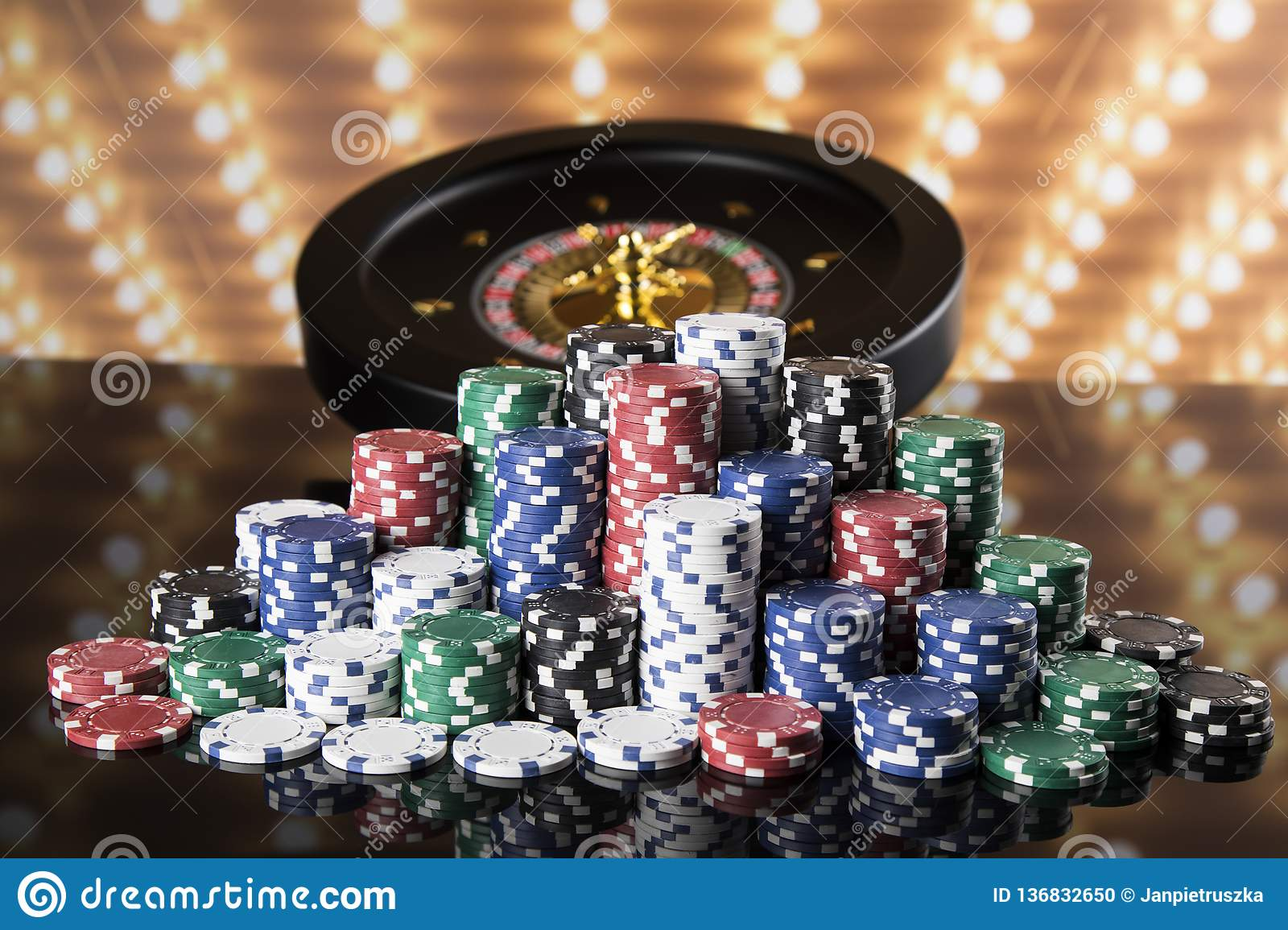 Poker Chips Roulette Wheel In Motion Casino Background Stock Photo Image Of Gamble Casino 136832650