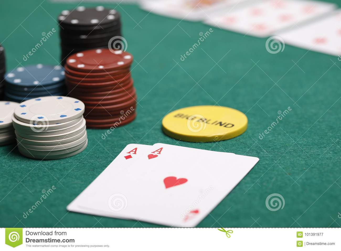 Poker Hand With Chips On A Poker Table Stock Image Image