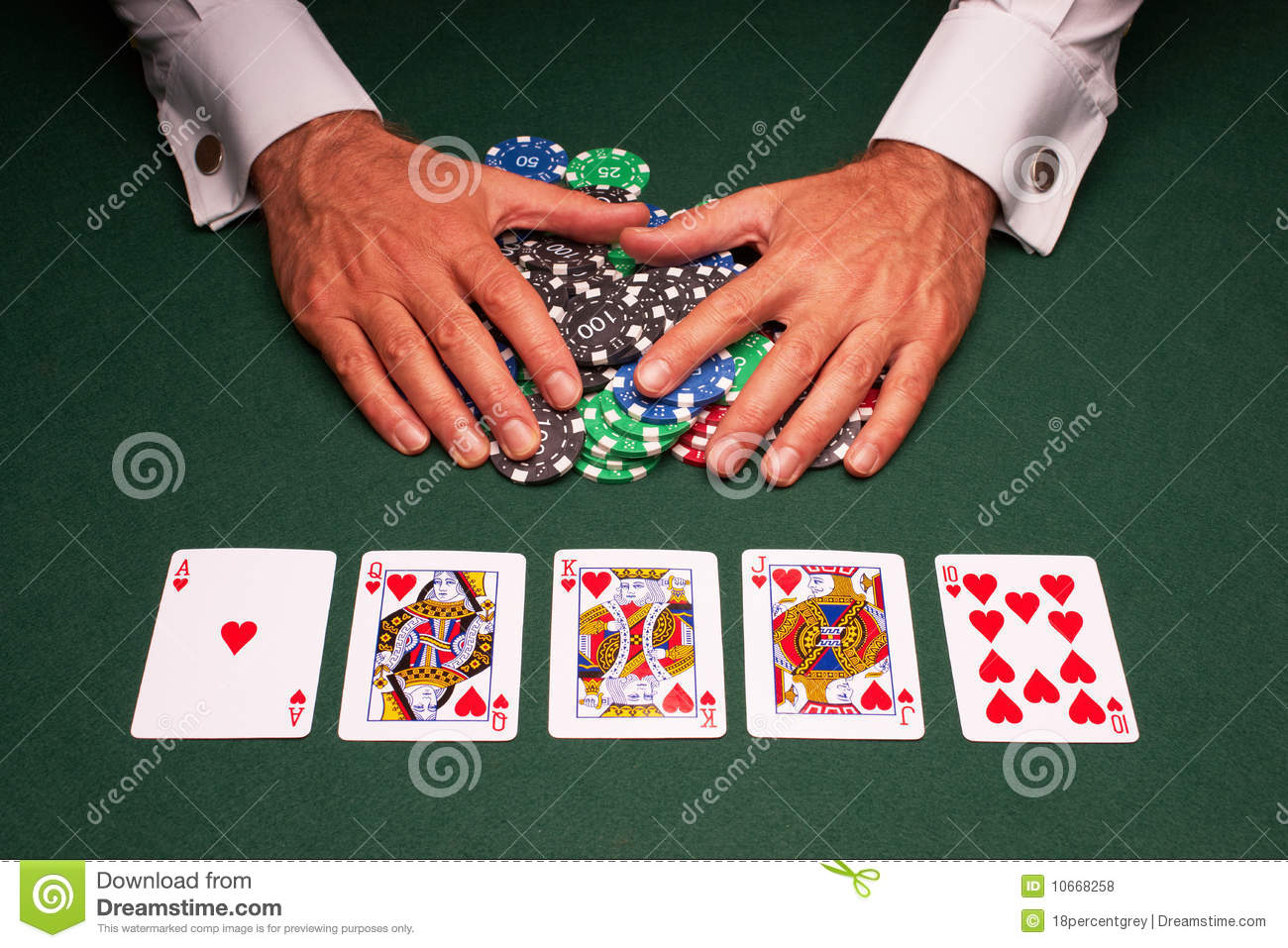 Poker Hand Royal Flush Win Royalty Free Stock Photos