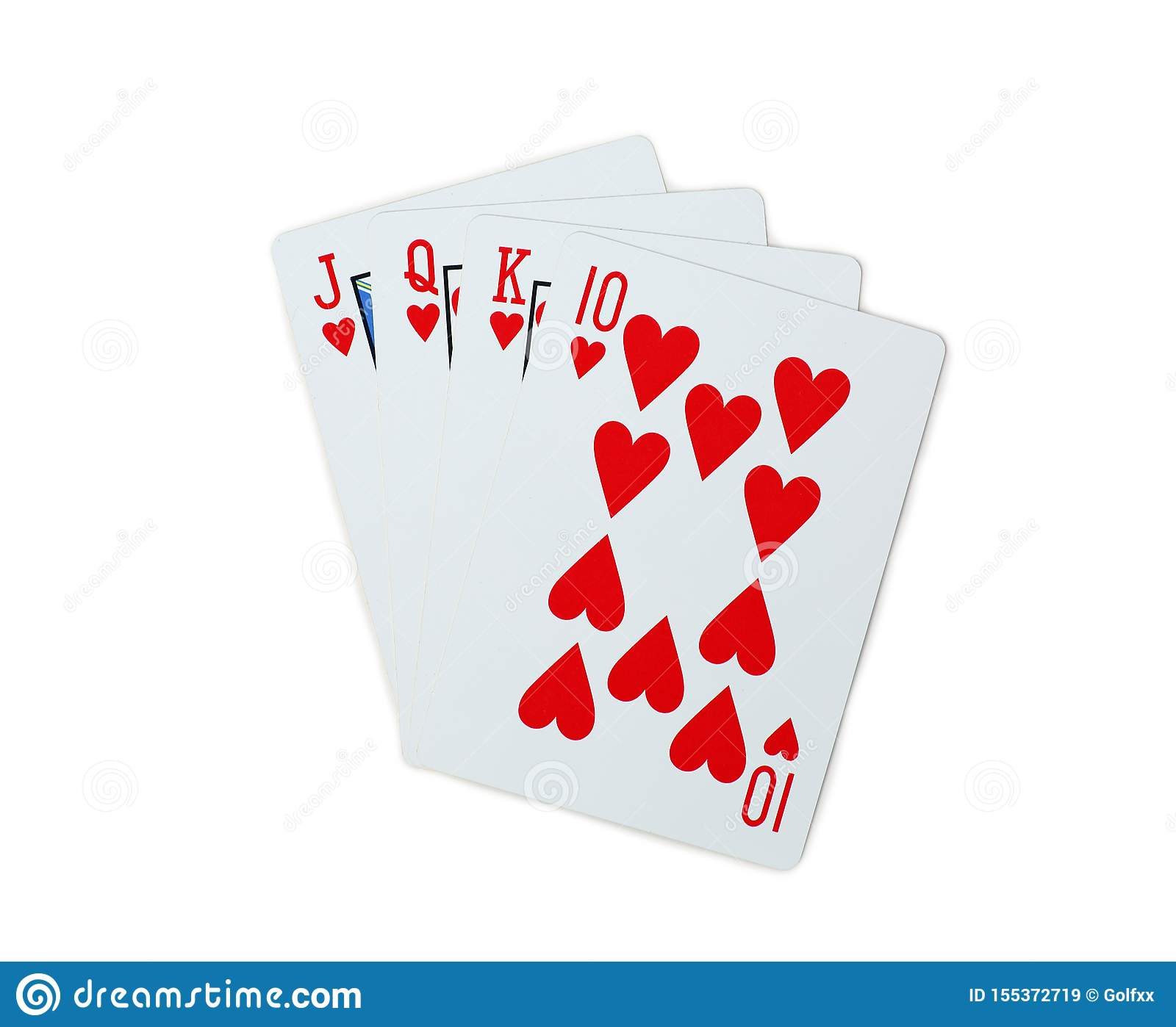 Poker Hearts Of J Q K 10 Playing Cards Isolated On White Background Stock Image Image Of King Chip 155372719