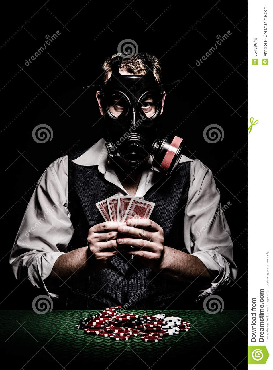 poker player with a gas mask on his head stock photo Funny Gambling Addiction Gambling Addiction Hotline