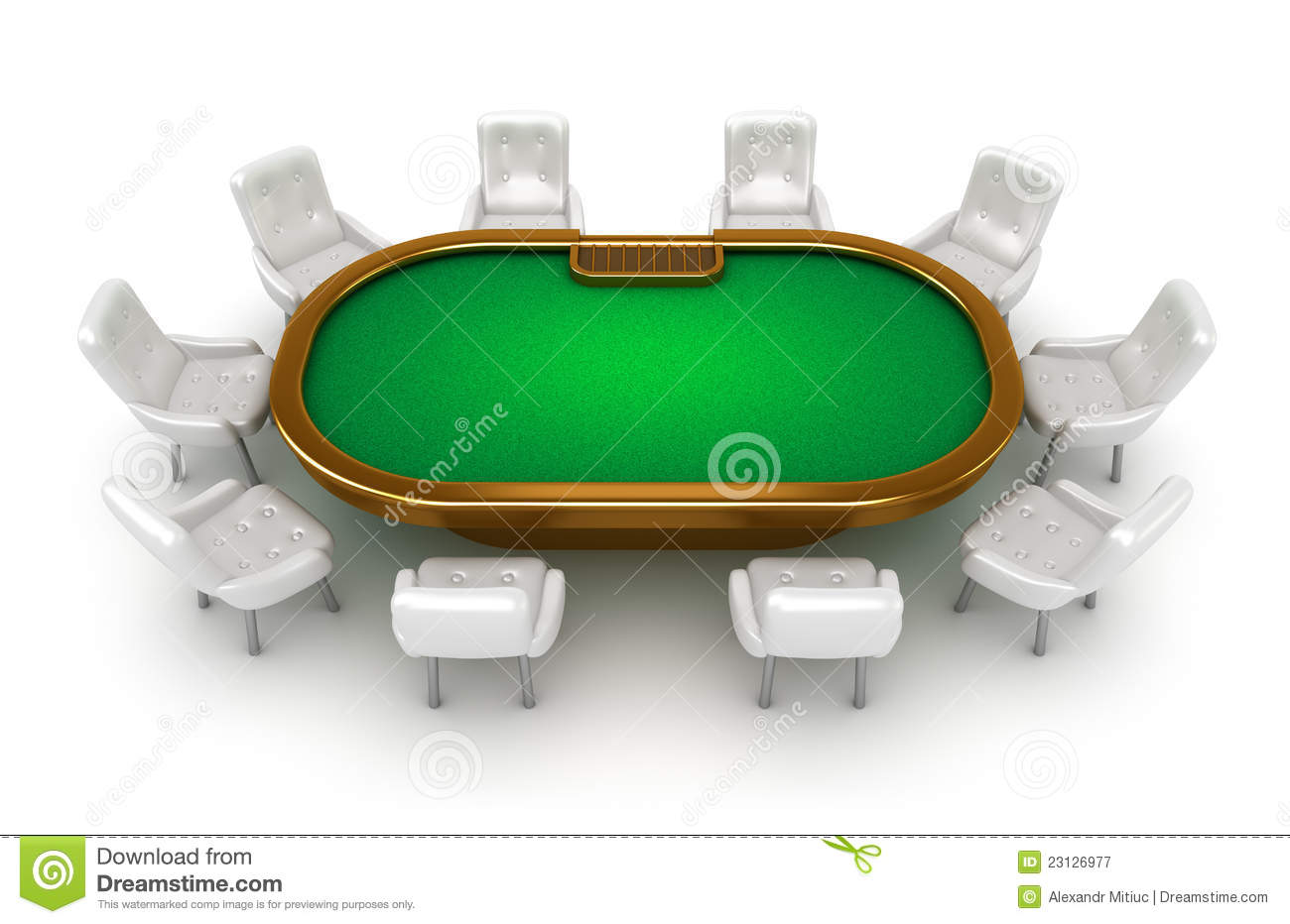 Poker Table With Chairs Top View Royalty Free Stock