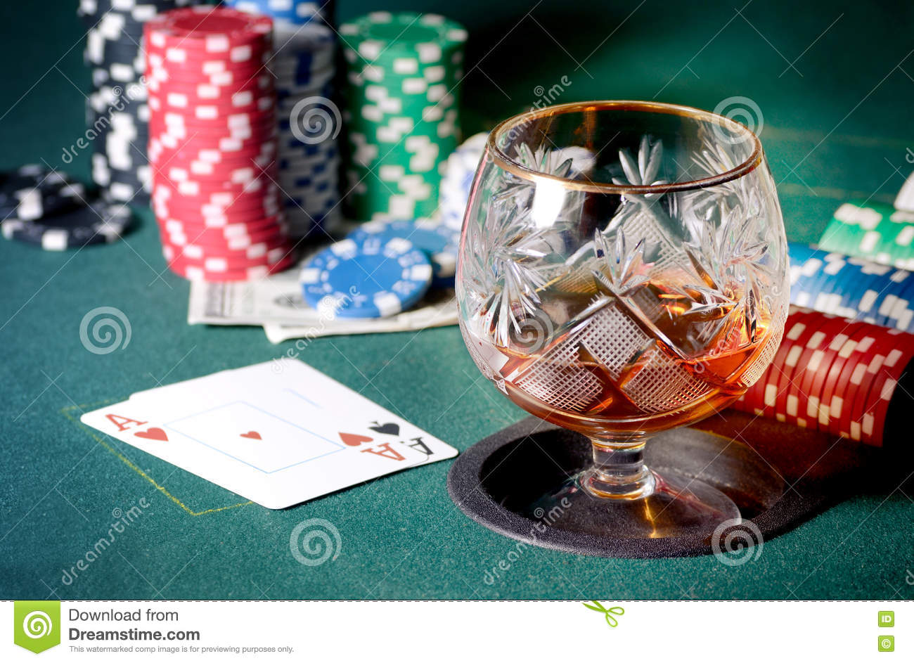 Fantastic Poker Table With Glass Of Cognac Casino Chips And Playing Home Remodeling Inspirations Basidirectenergyitoicom
