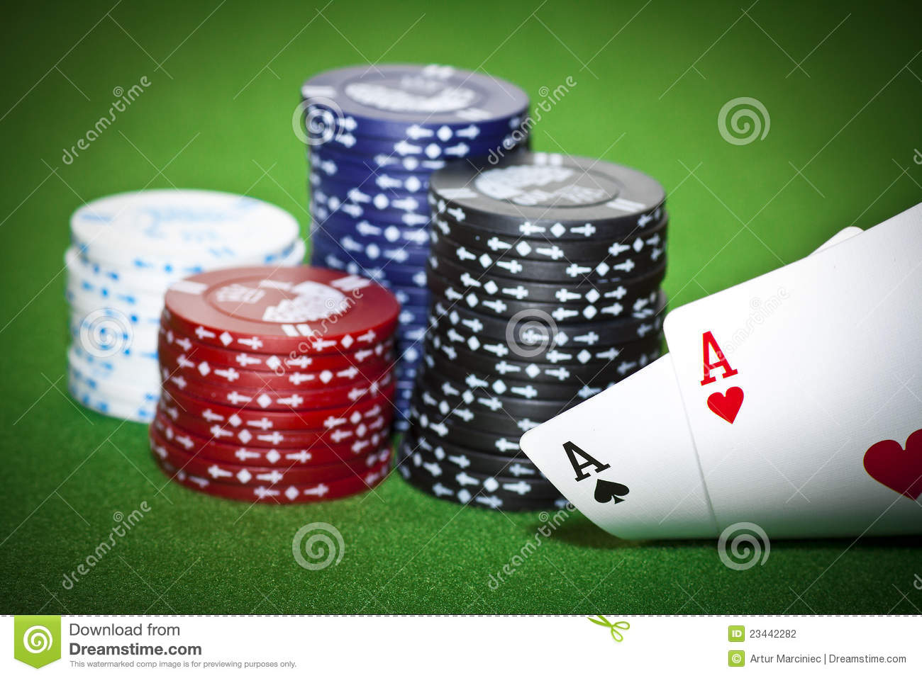 Poker table with two cards and gambling chips & Poker Table With Two Cards And Gambling Chips Stock Photo - Image of ...