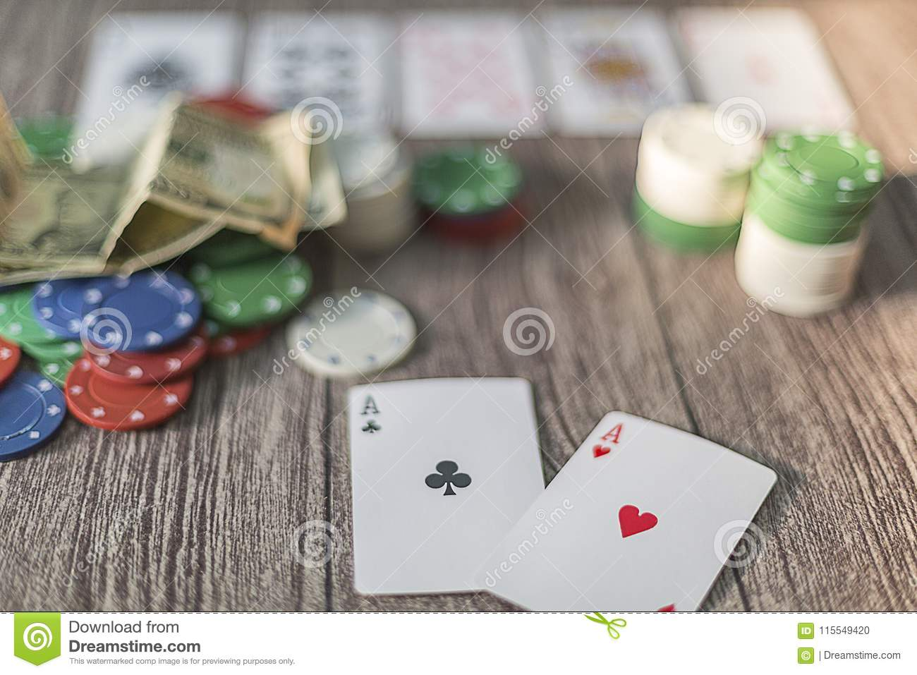 Poker theme with money. chips and cards