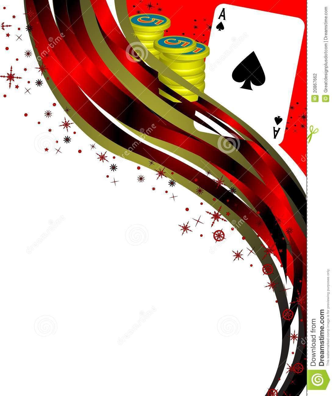 An image with an Ace of Spades, some Poker Chips, and abstract border ...