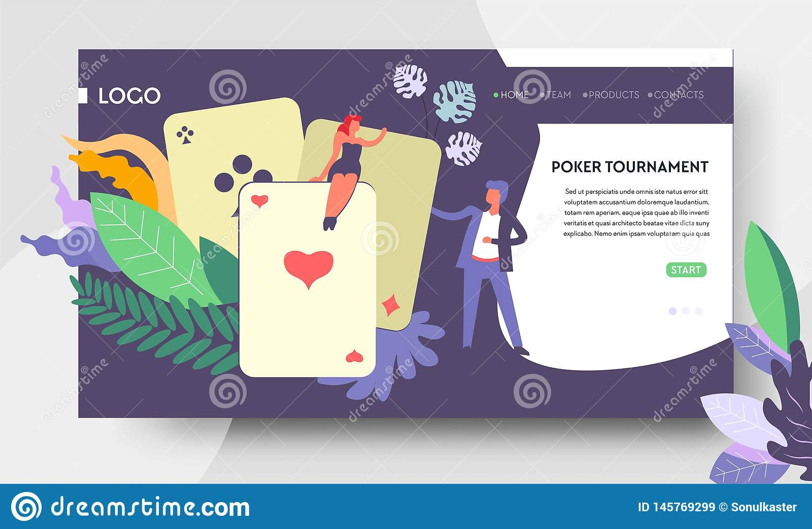 Poker tournament web page template play cards