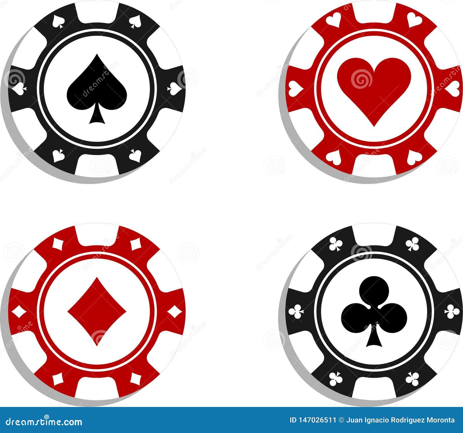 Pokerchiper med kortsymboler