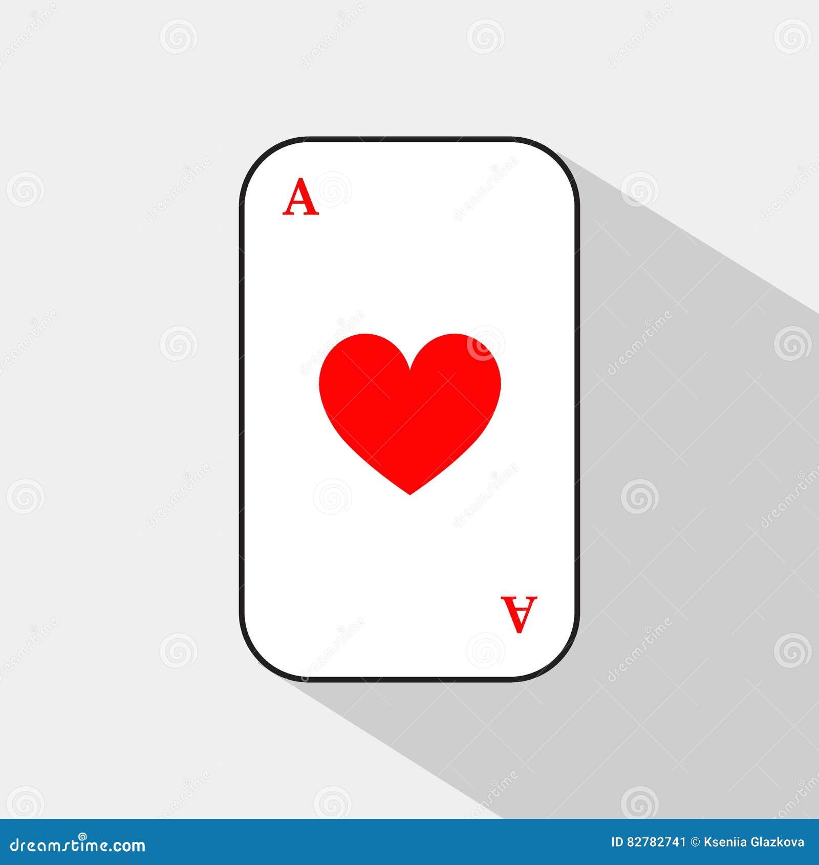 Pokerkarte HERZ ACE weißer Hintergrund, zum trennbar leicht zu sein