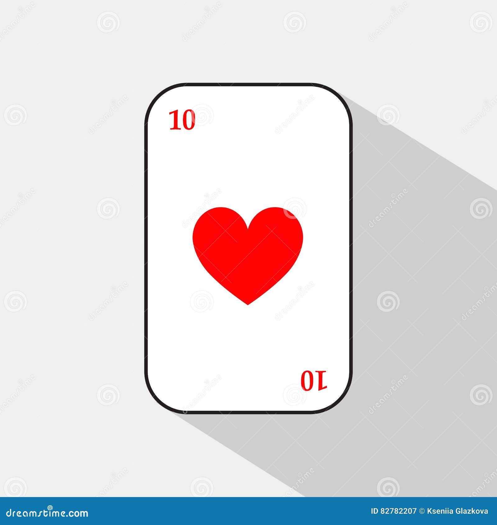 Pokerkarte HERZ zehn weißer Hintergrund, zum trennbar leicht zu sein