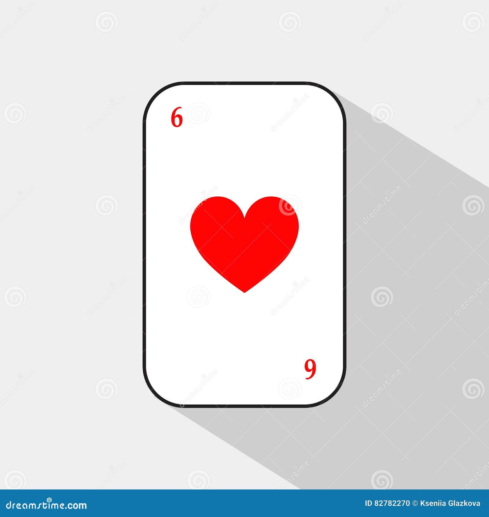 Pokerkort HJÄRTA SEX vit bakgrund som lätt är skiljbar