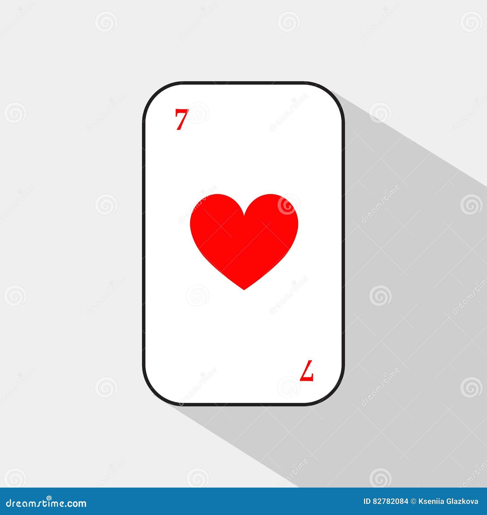 Pokerkort HJÄRTA sju vit bakgrund som lätt är skiljbar