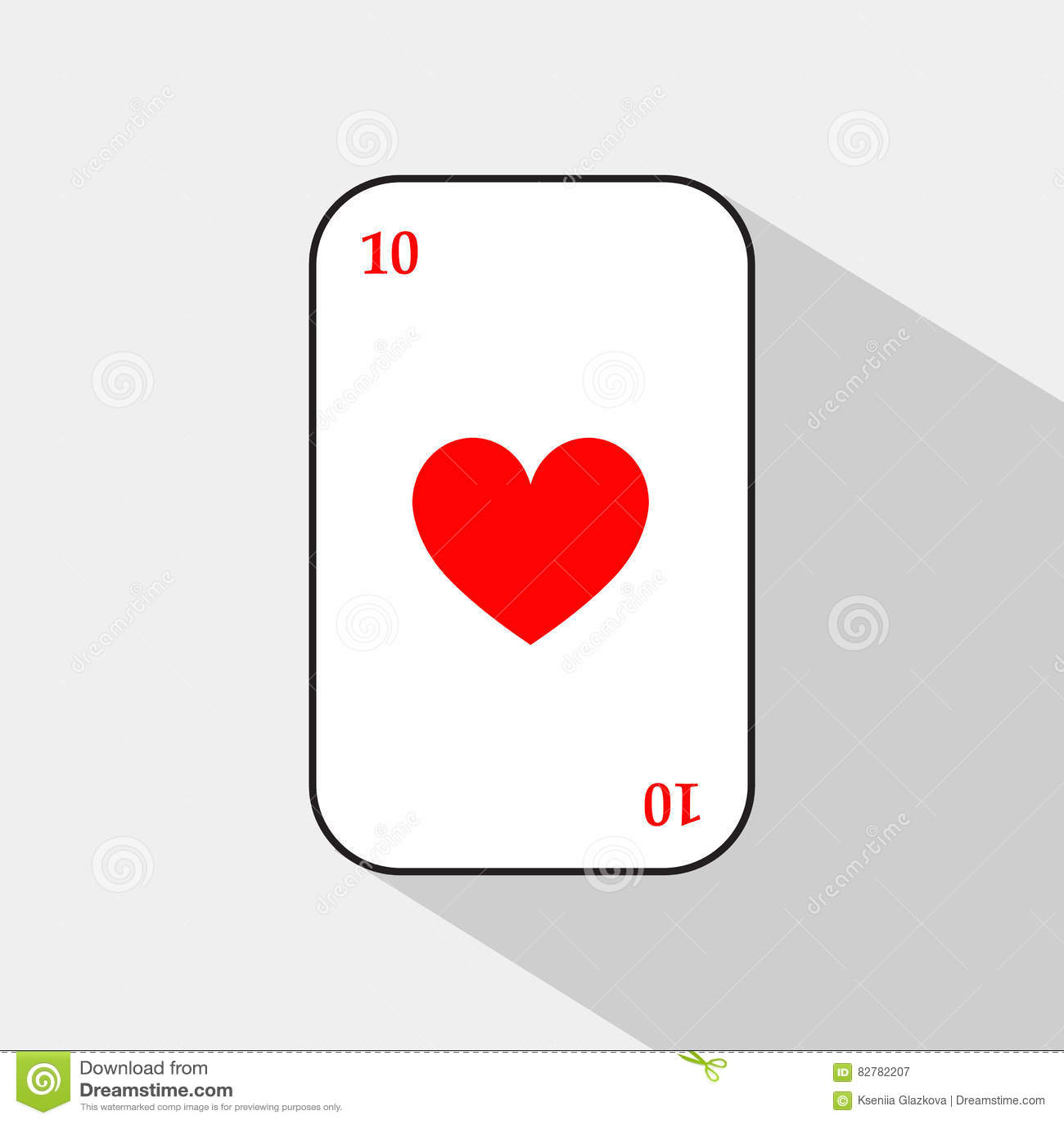 Pokerkort HJÄRTA tio vit bakgrund som lätt är skiljbar
