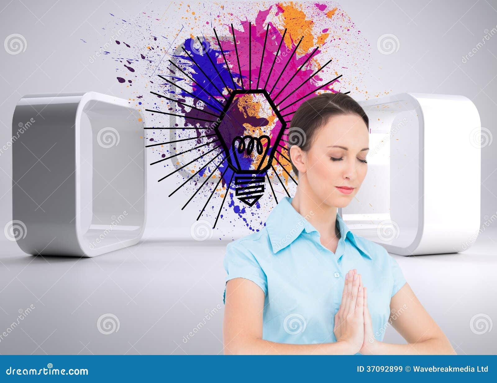 Download Pokojowy Młody Bizneswomanu Modlenie Obraz Stock - Obraz złożonej z digitise, struktura: 37092899