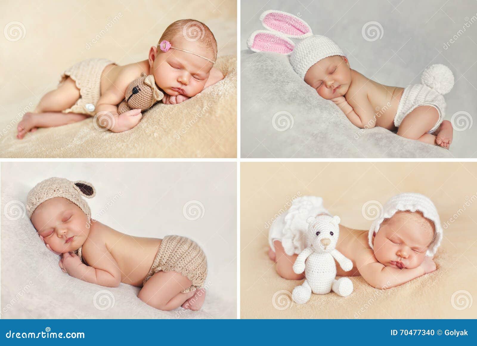 Pokojowy sen nowonarodzony dziecko, kolaż cztery obrazka