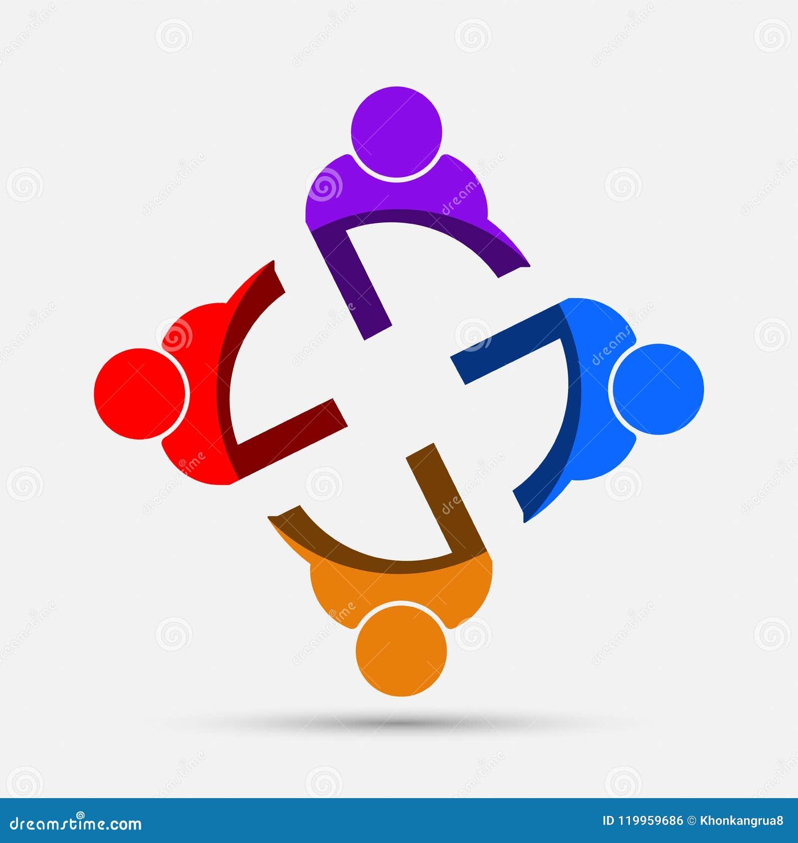 Pokoju konferencyjnego loga ludzie grupa cztery persons w okręgu