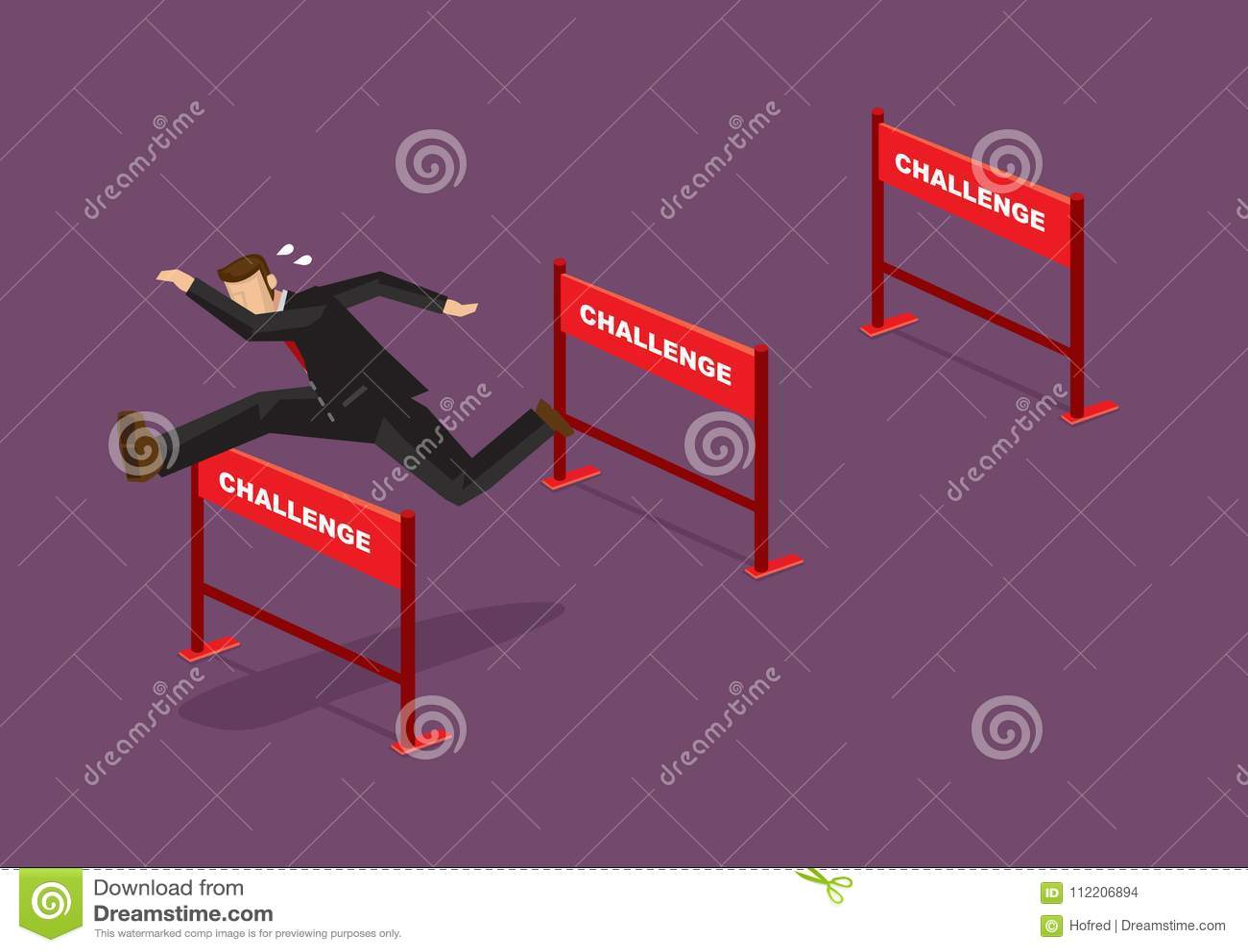 Pokonywać wyzwanie kreskówki wektoru Biznesową ilustrację