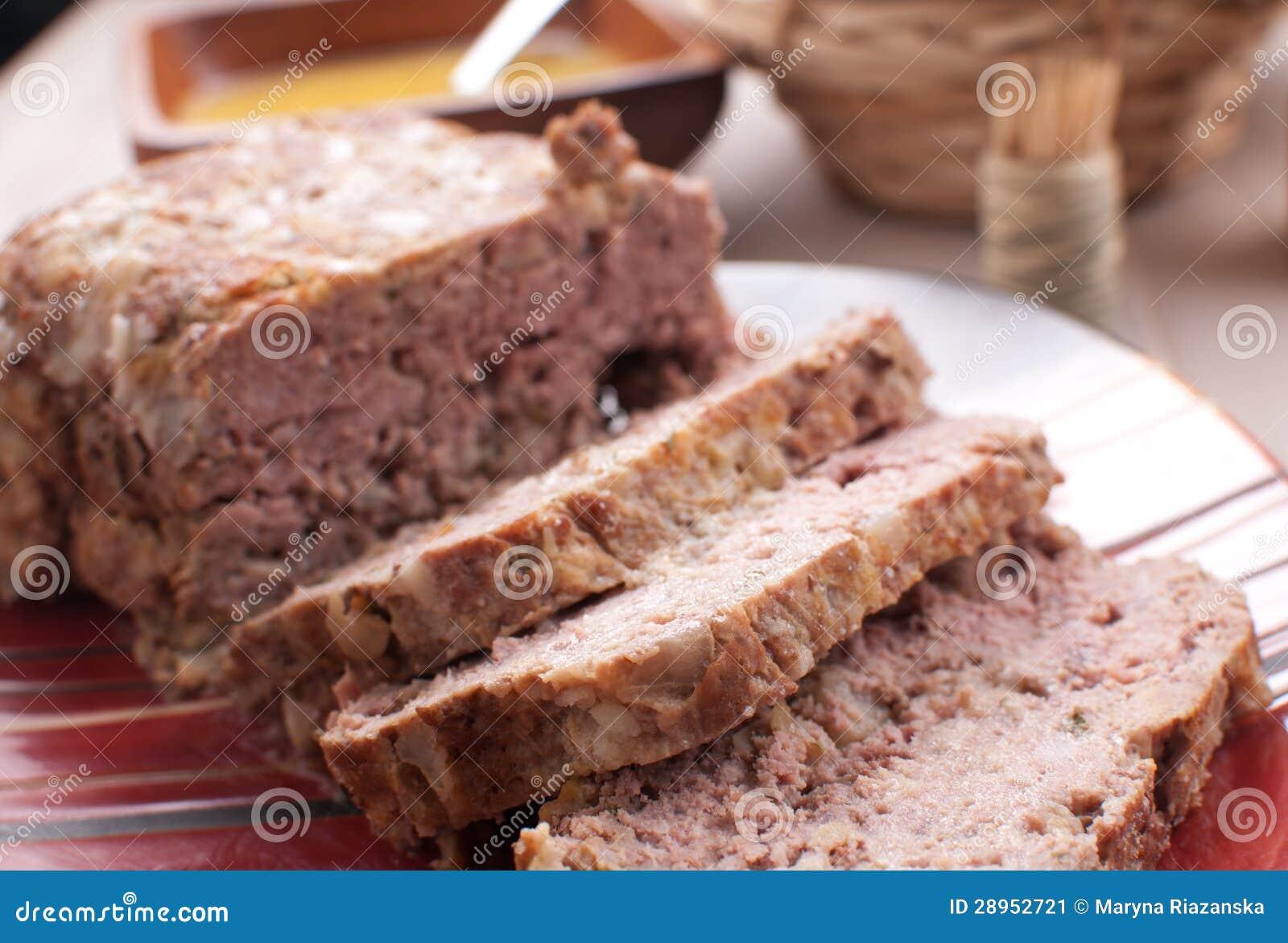 Pokrojony meatloaf zbliżenie