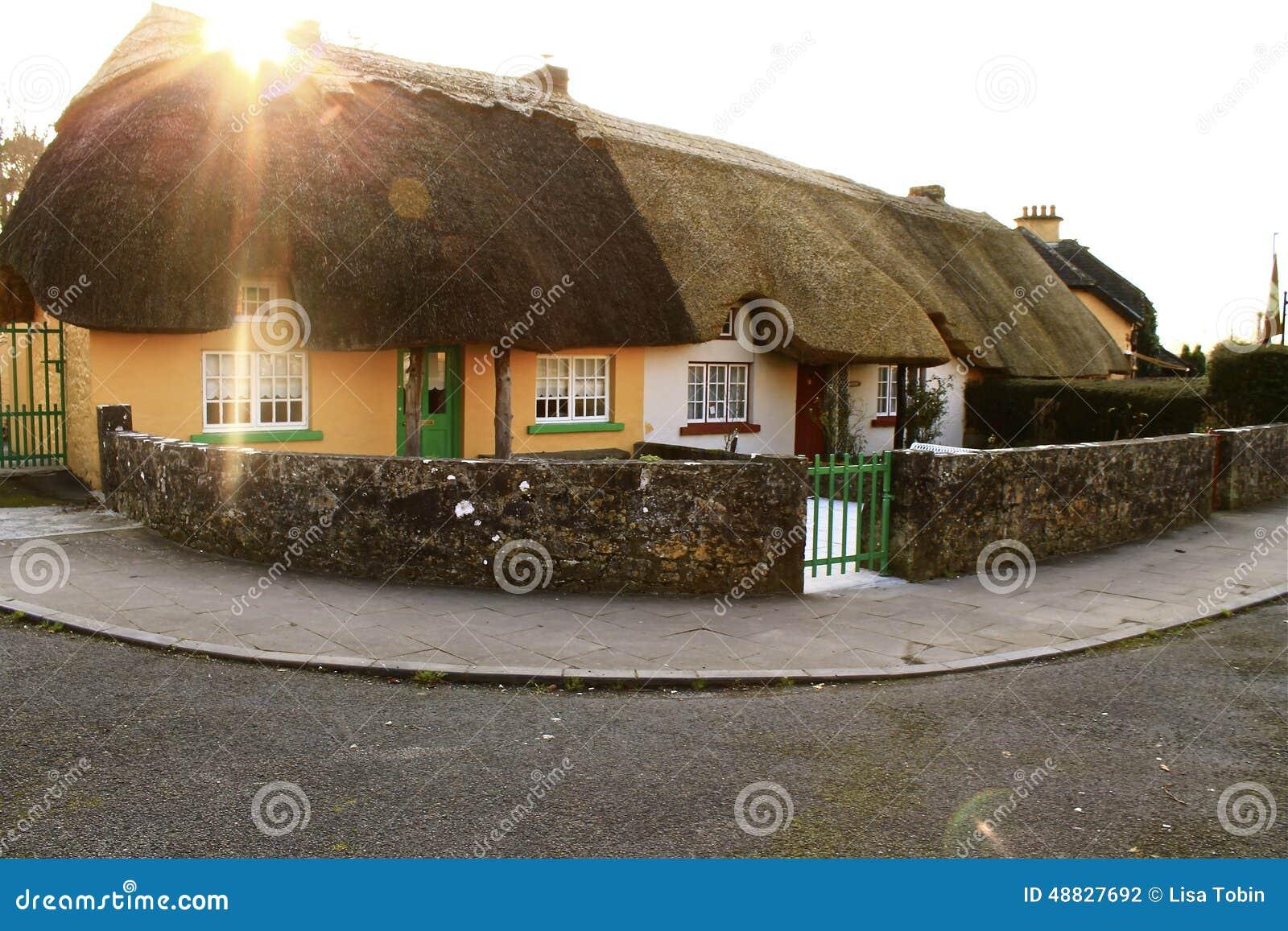 Pokrywać strzechą chałupy w Irlandzkiej wsi