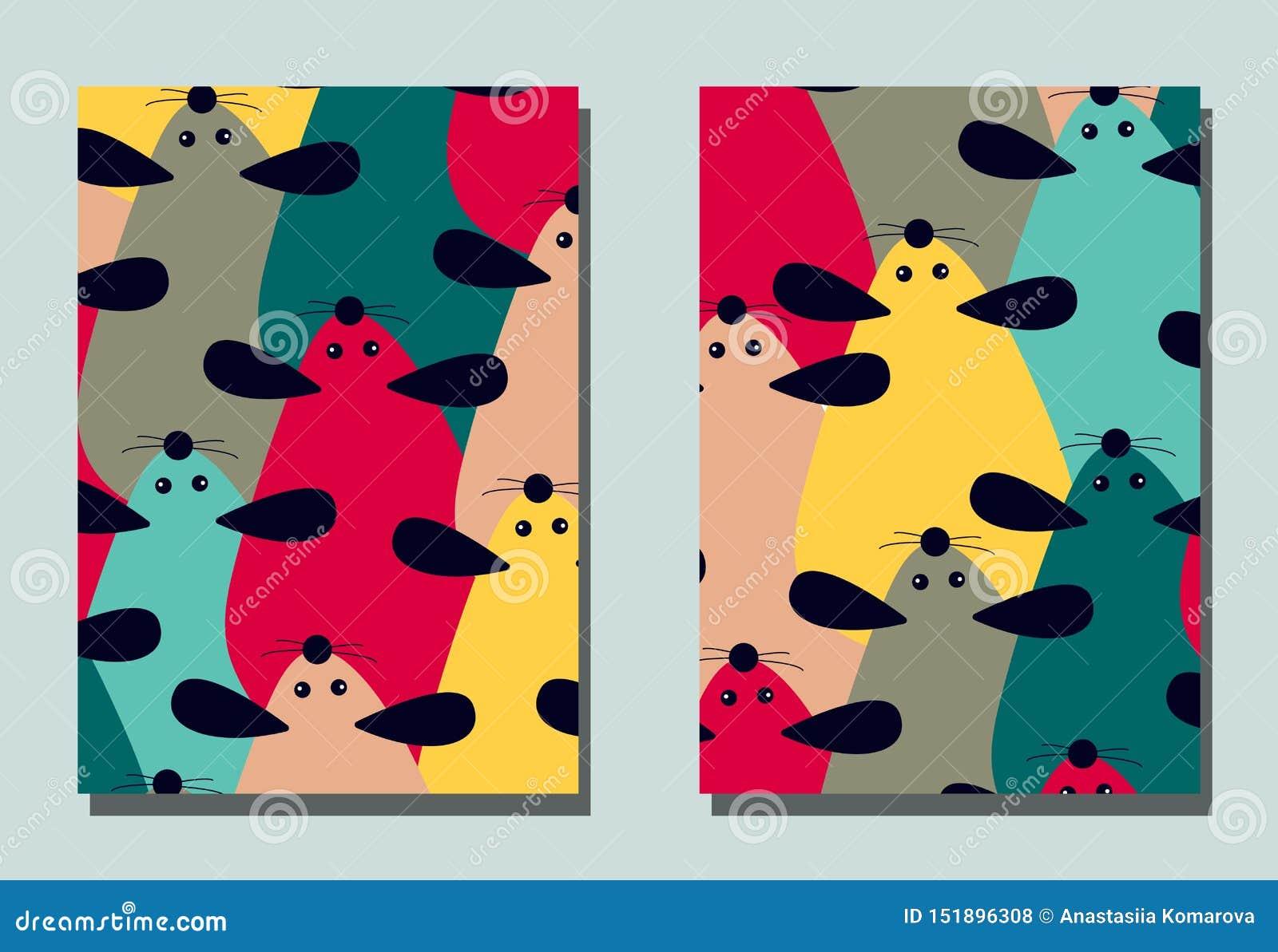 Pokrywa z kreskówki myszą - Chiński symbol nowy rok 2020